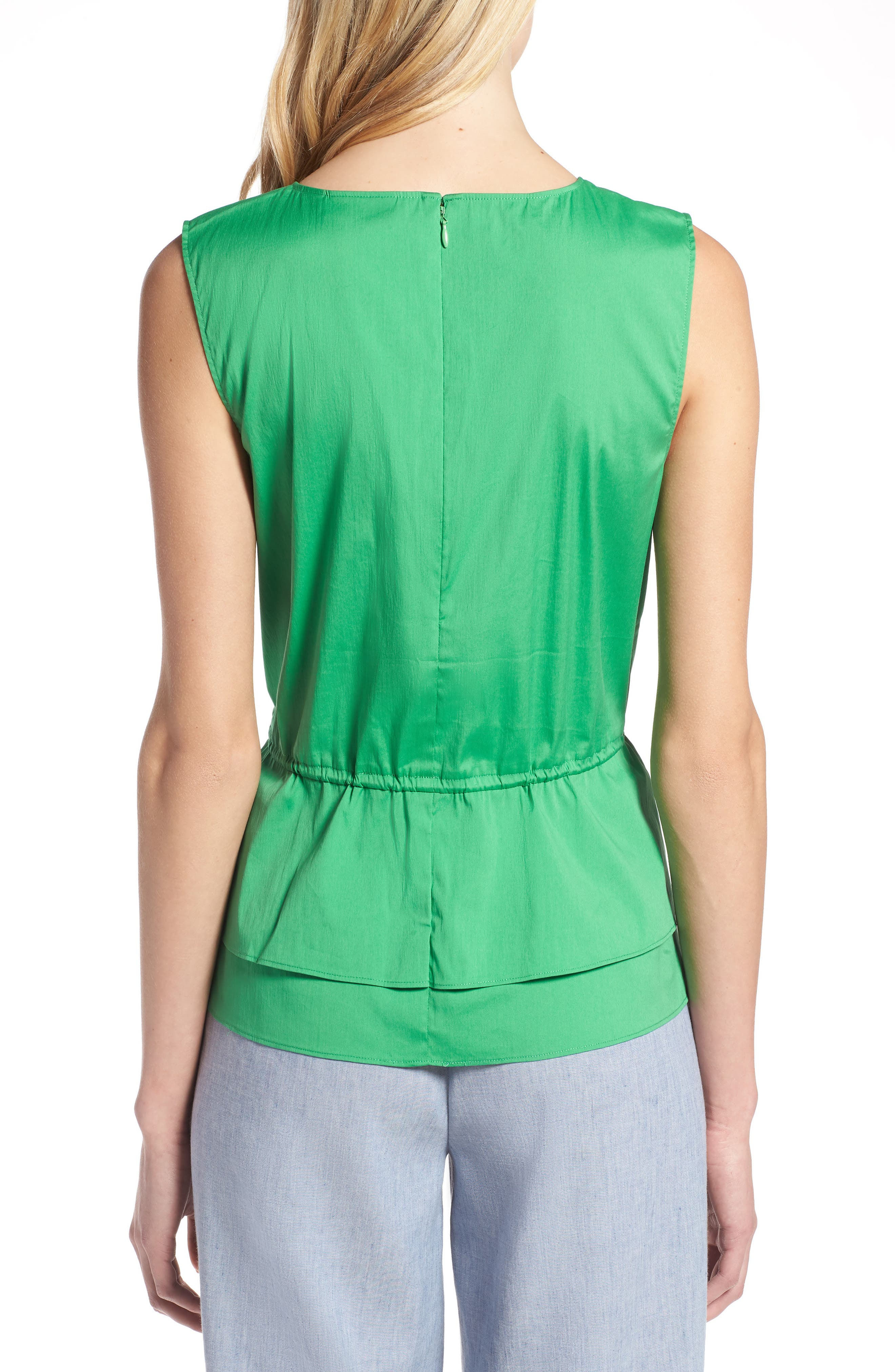 Stretch Cotton Blend Peplum Top,                             Alternate thumbnail 2, color,                             Green Kelly
