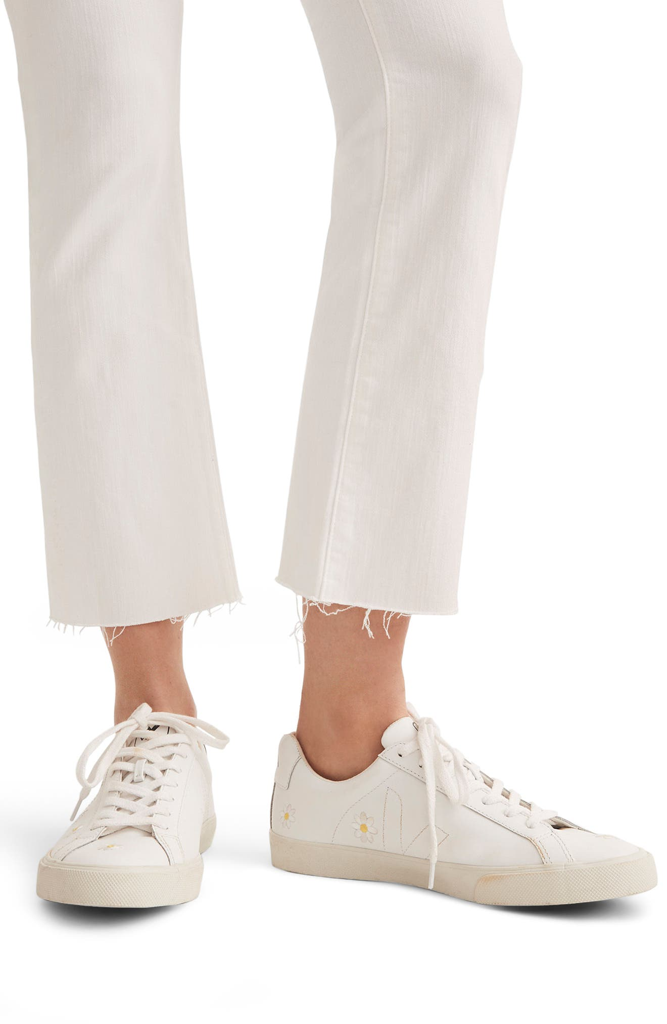 Cali Raw Edge Demi Boot Jeans,                             Alternate thumbnail 4, color,                             Pure White