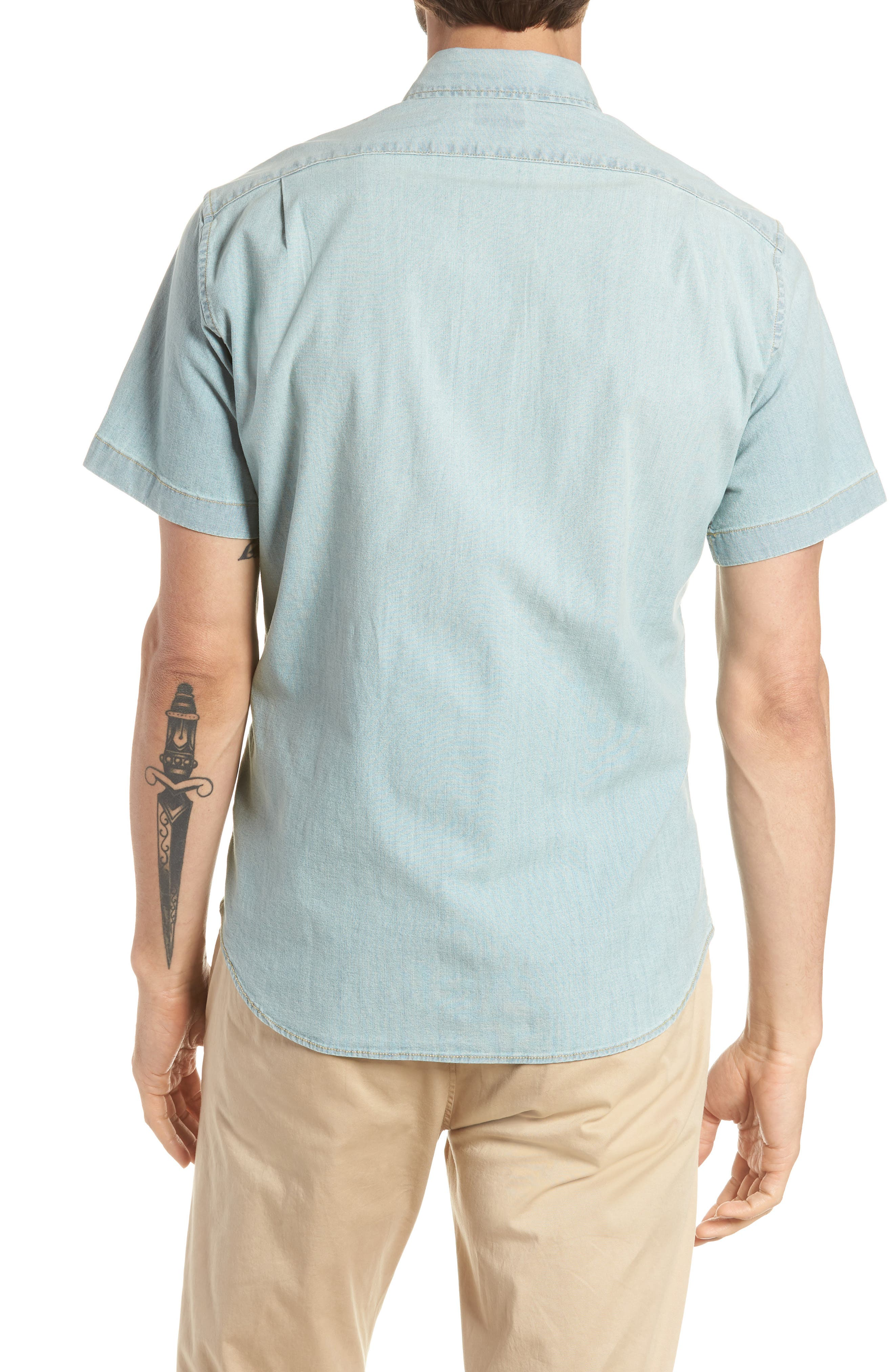 Slim Fit Stretch Chambray Shirt,                             Alternate thumbnail 3, color,                             Indigo