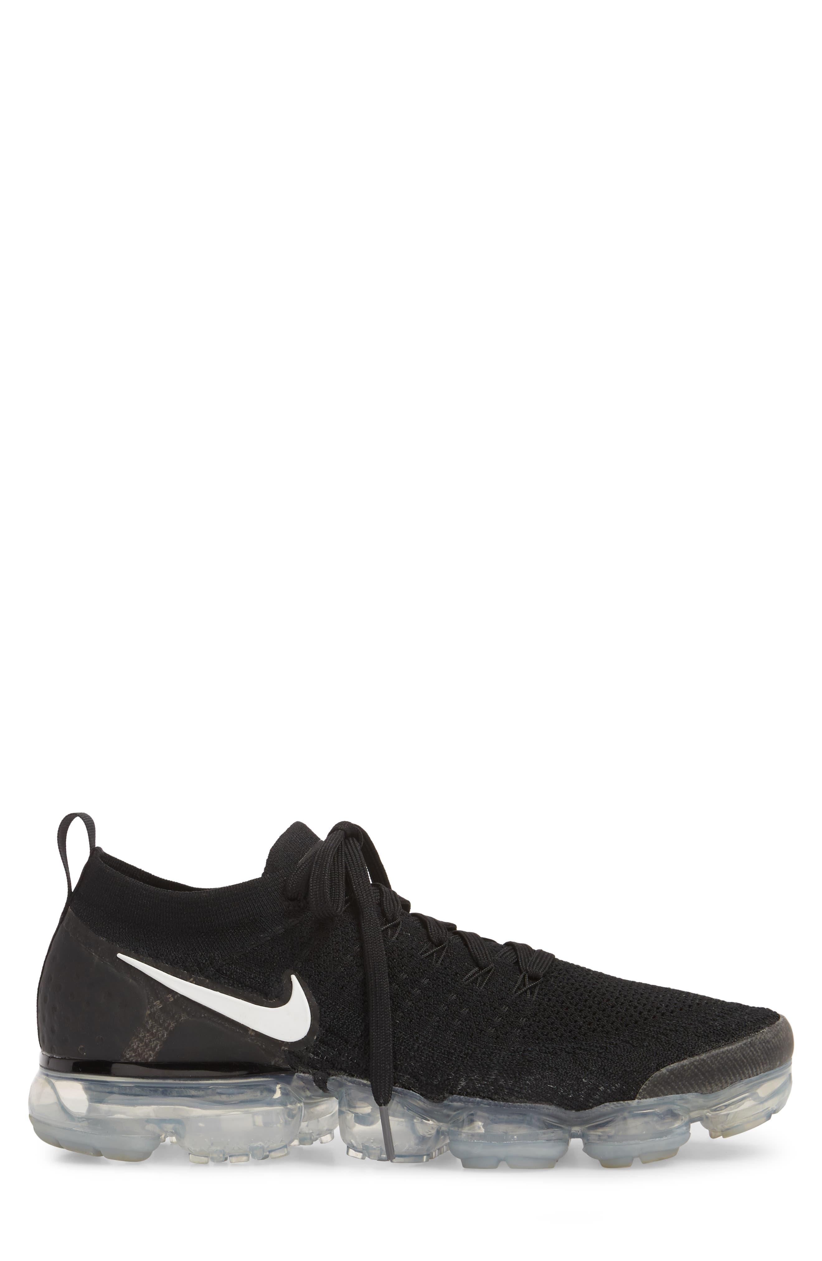 Air Vapormax Flyknit 2 Running Shoe,                             Alternate thumbnail 3, color,                             Black/ White/ Dark Grey