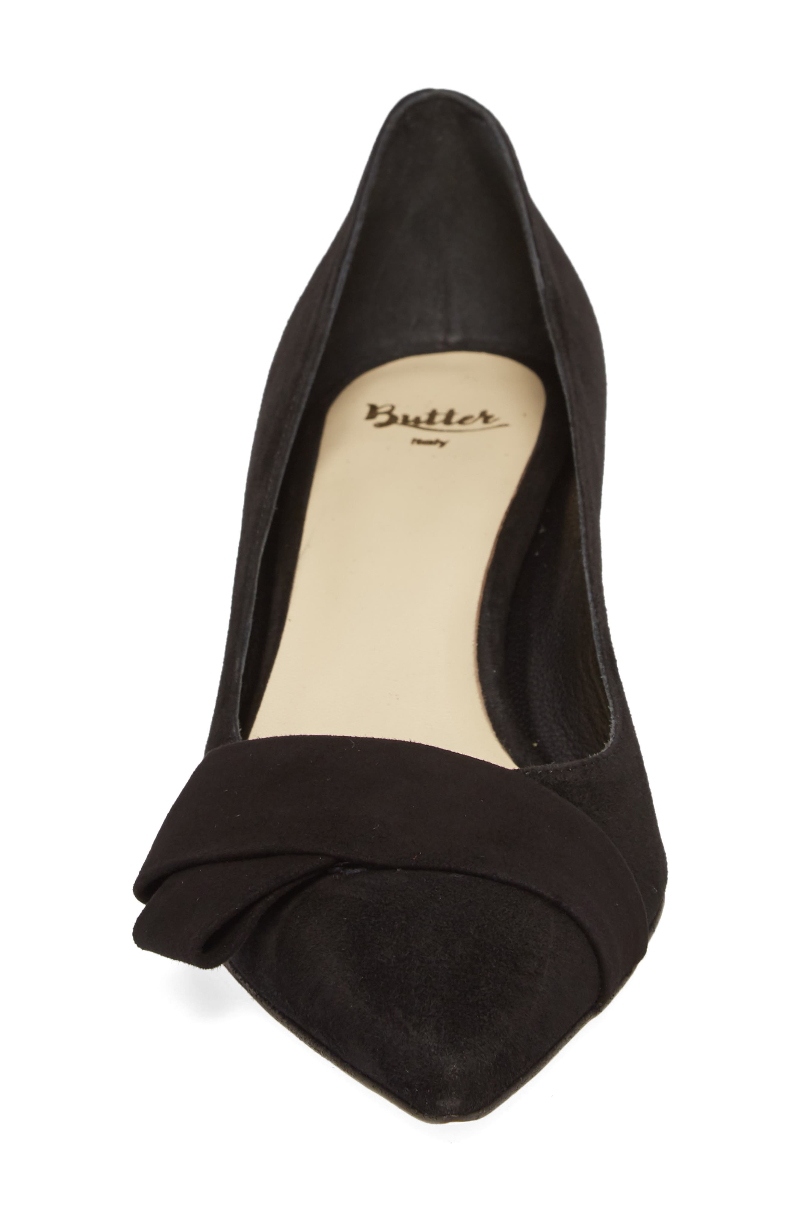 Butter Bliss Pointy Toe Pump,                             Alternate thumbnail 3, color,                             Black Suede
