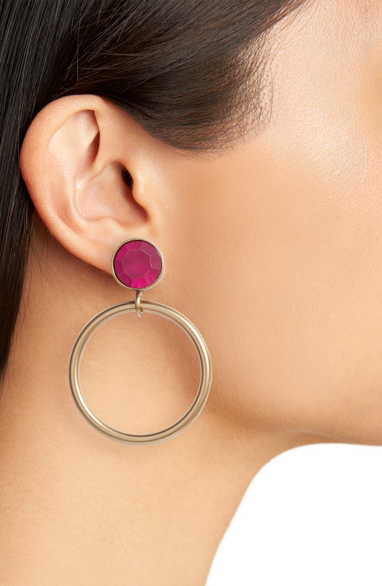 Cecelia Crystal Drop Hoop Earrings,                             Alternate thumbnail 2, color,                             Fuchsia