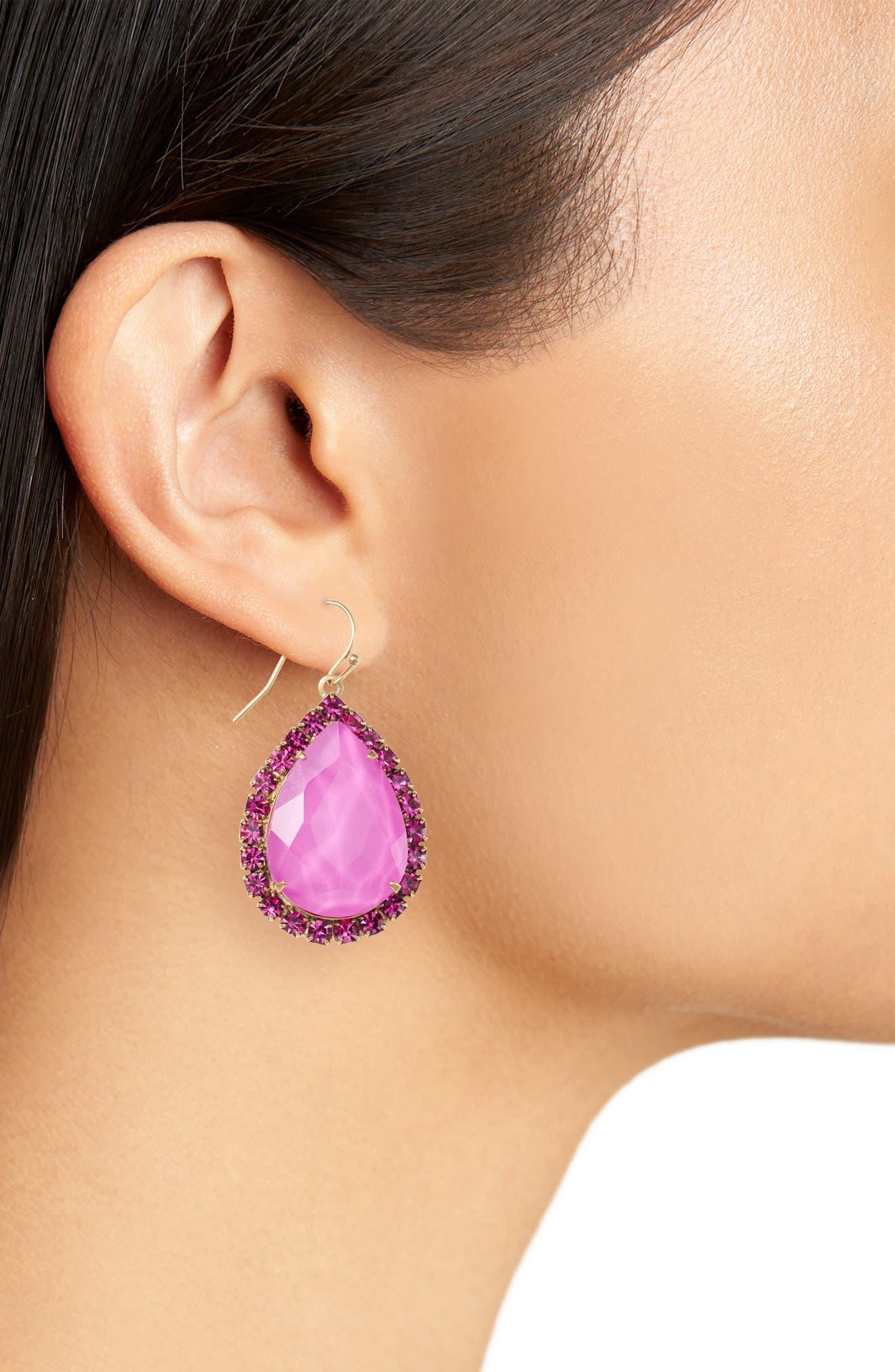 Krista Crystal Drop Earrings,                             Alternate thumbnail 2, color,                             Violet