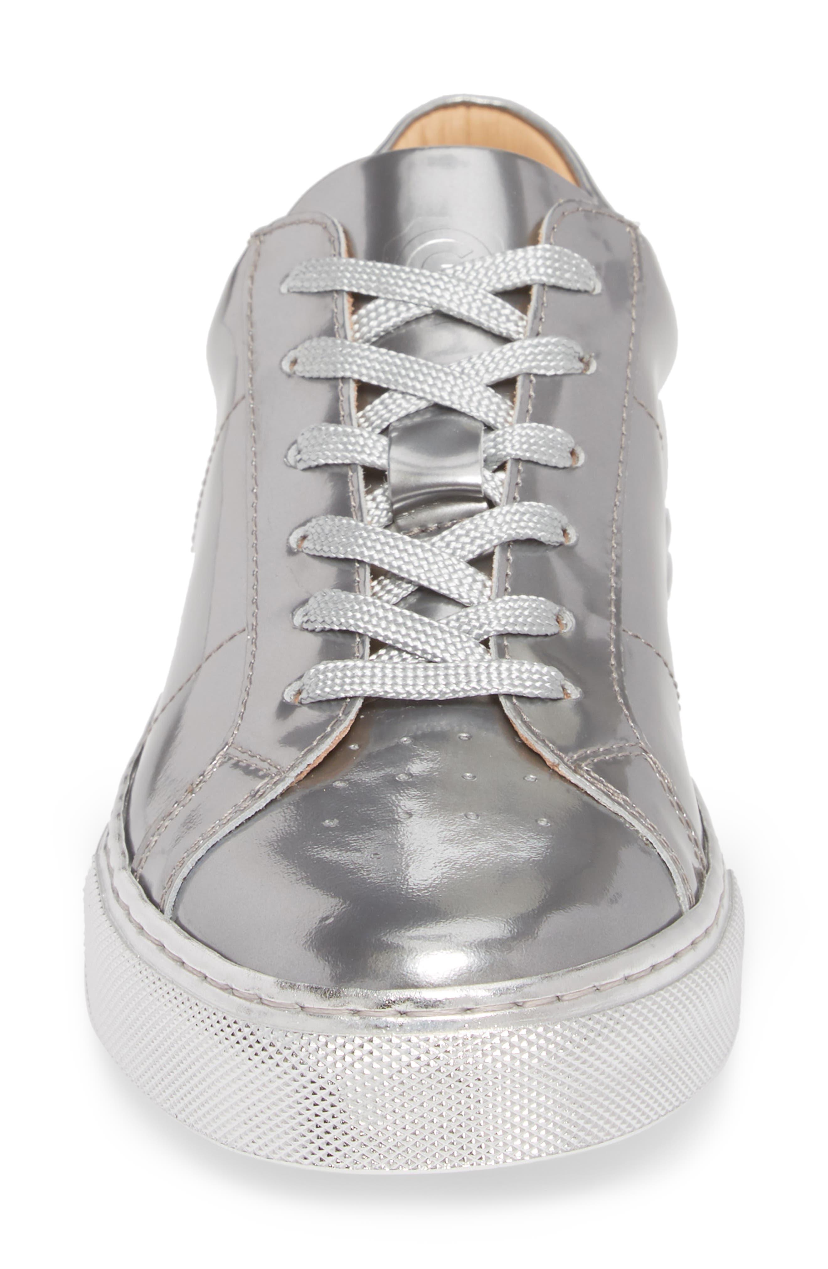 Royale Low Top Sneaker,                             Alternate thumbnail 4, color,                             Silver Tonal/ Flat Leather