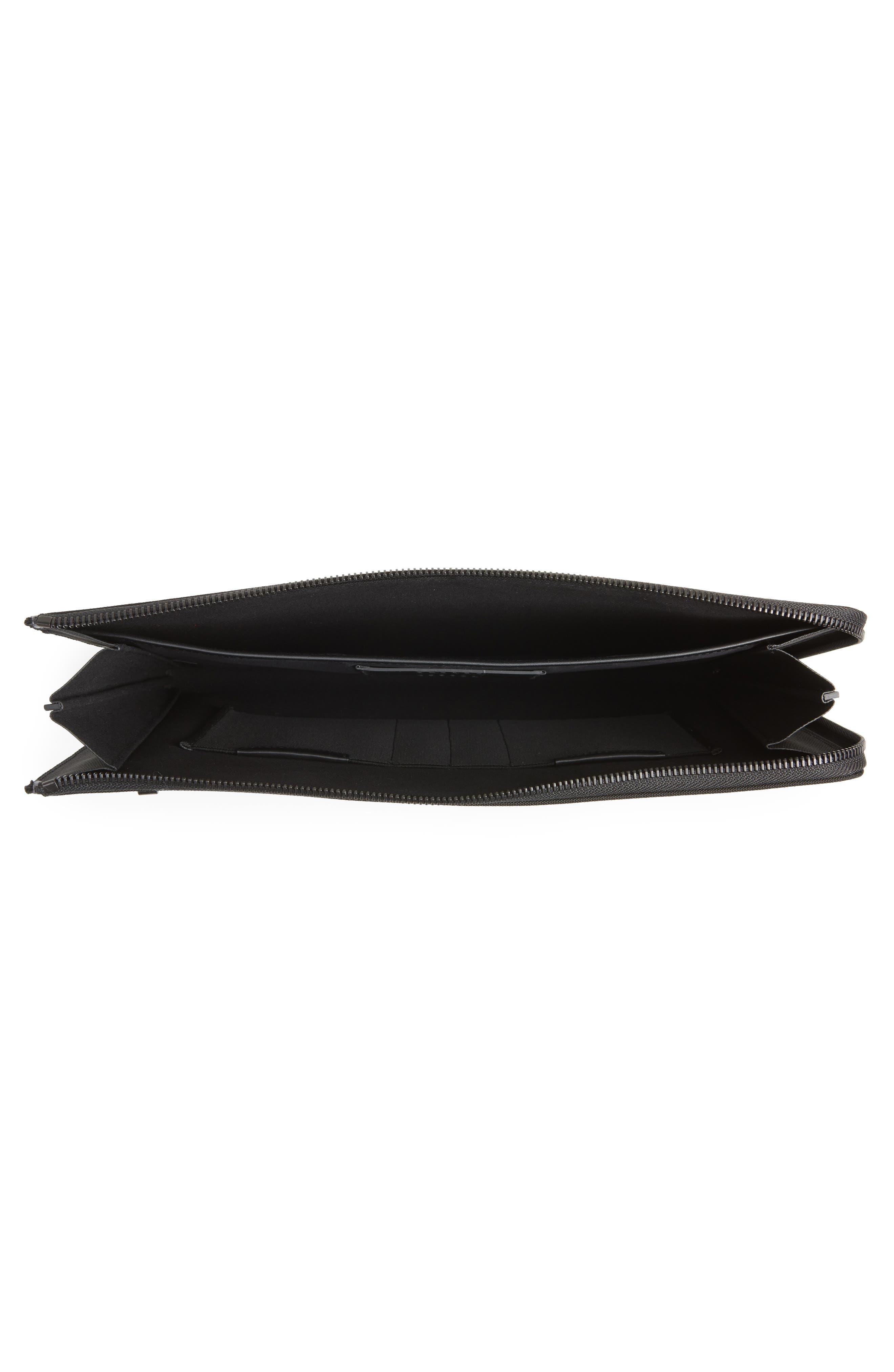 Portfolio Case,                             Alternate thumbnail 3, color,                             Black Nylon/ Black Leather