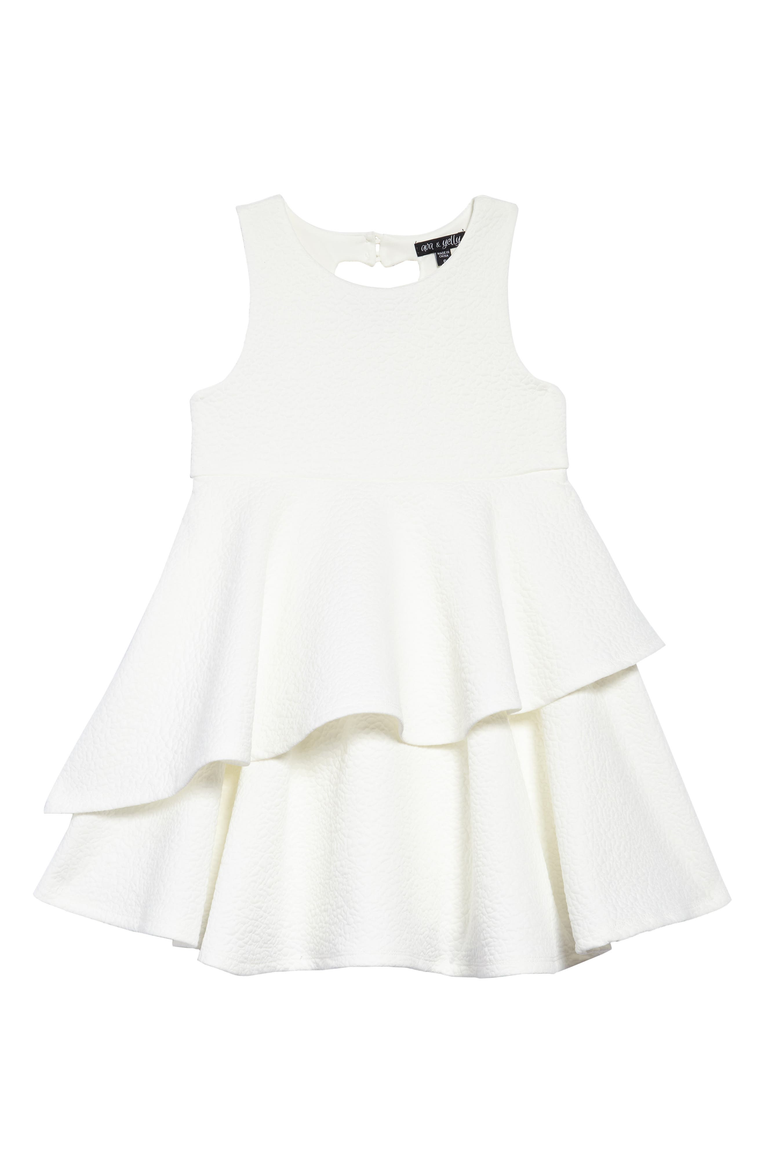 Tiered Dress,                         Main,                         color, White