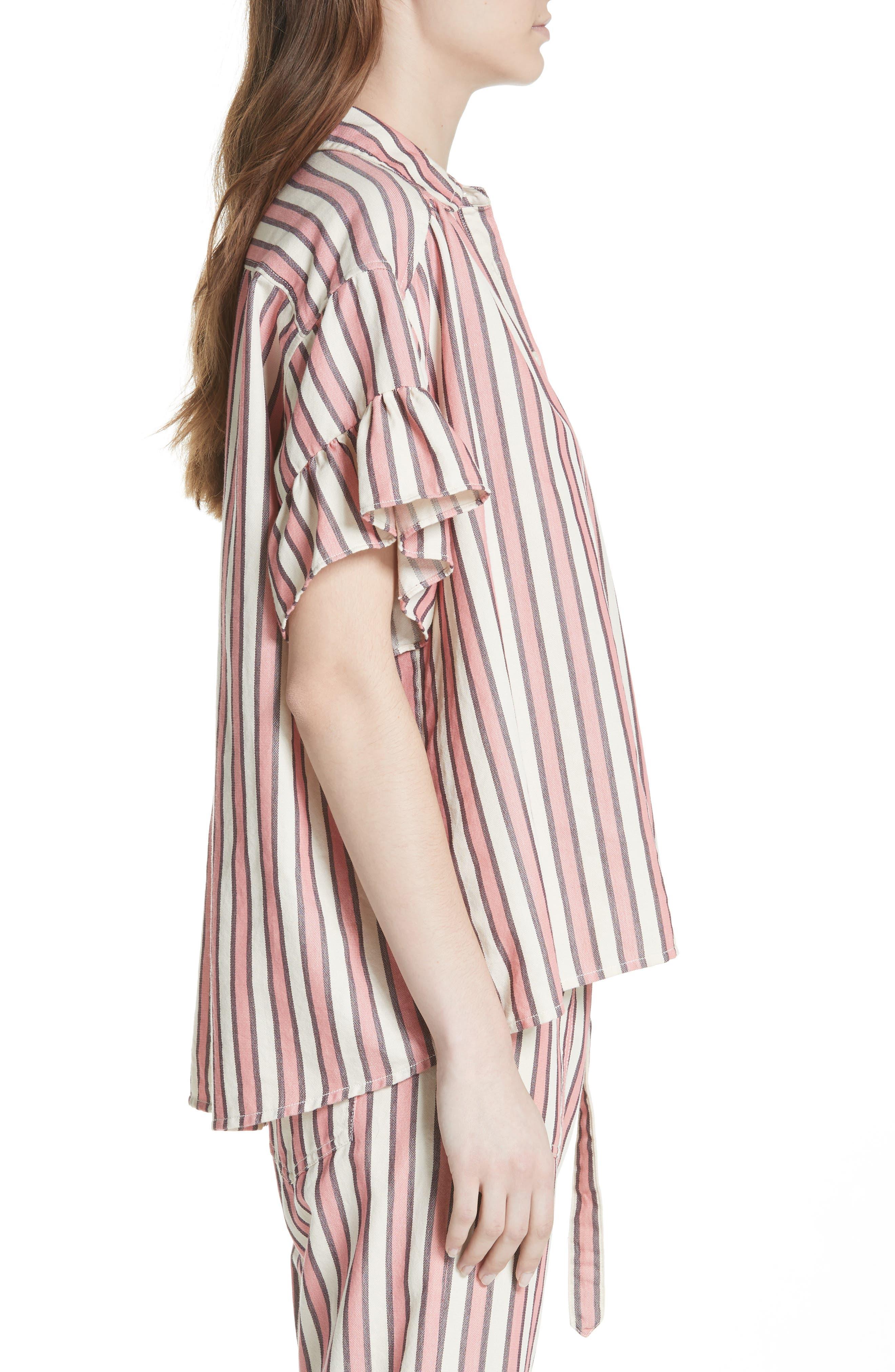 Flutter Sleeve Stripe Shirt,                             Alternate thumbnail 4, color,                             Pink Taffy Stripe