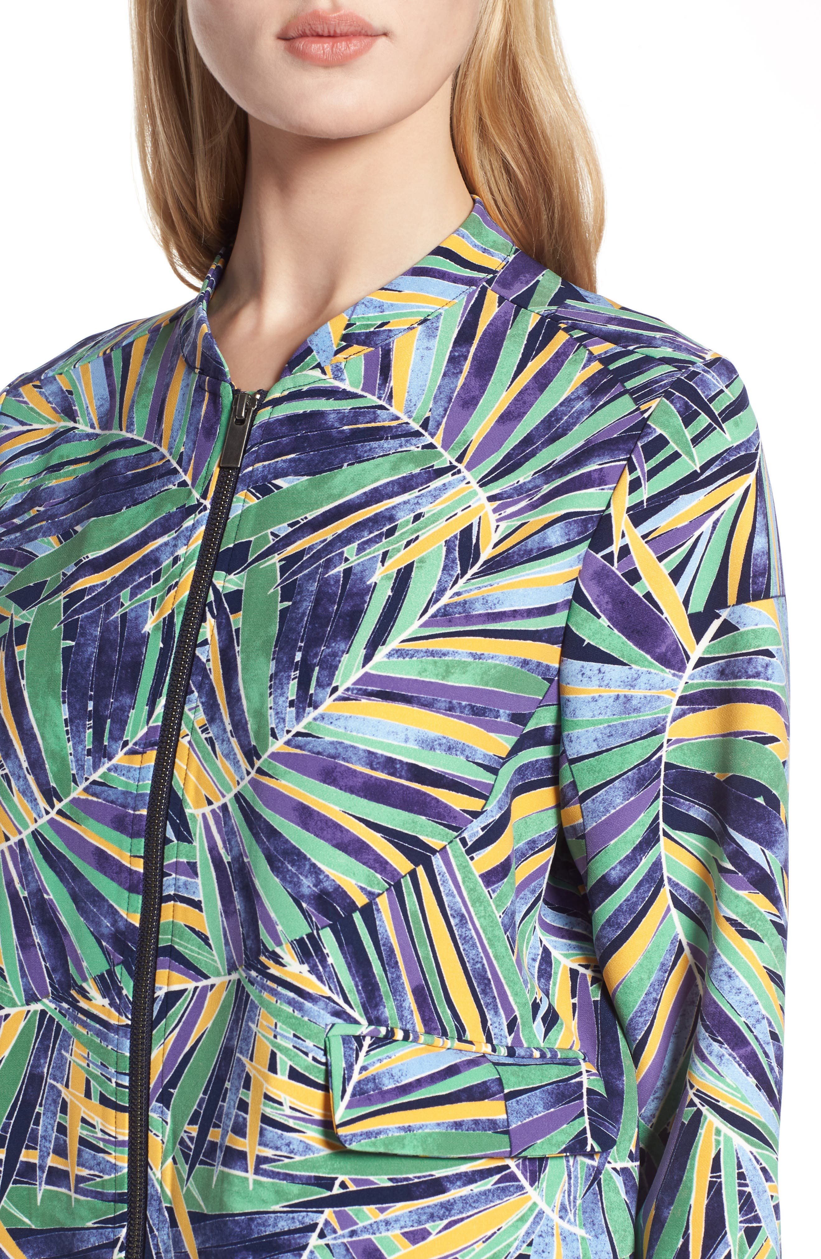 Drawstring Jacket,                             Alternate thumbnail 4, color,                             Green- Blue Palm Print