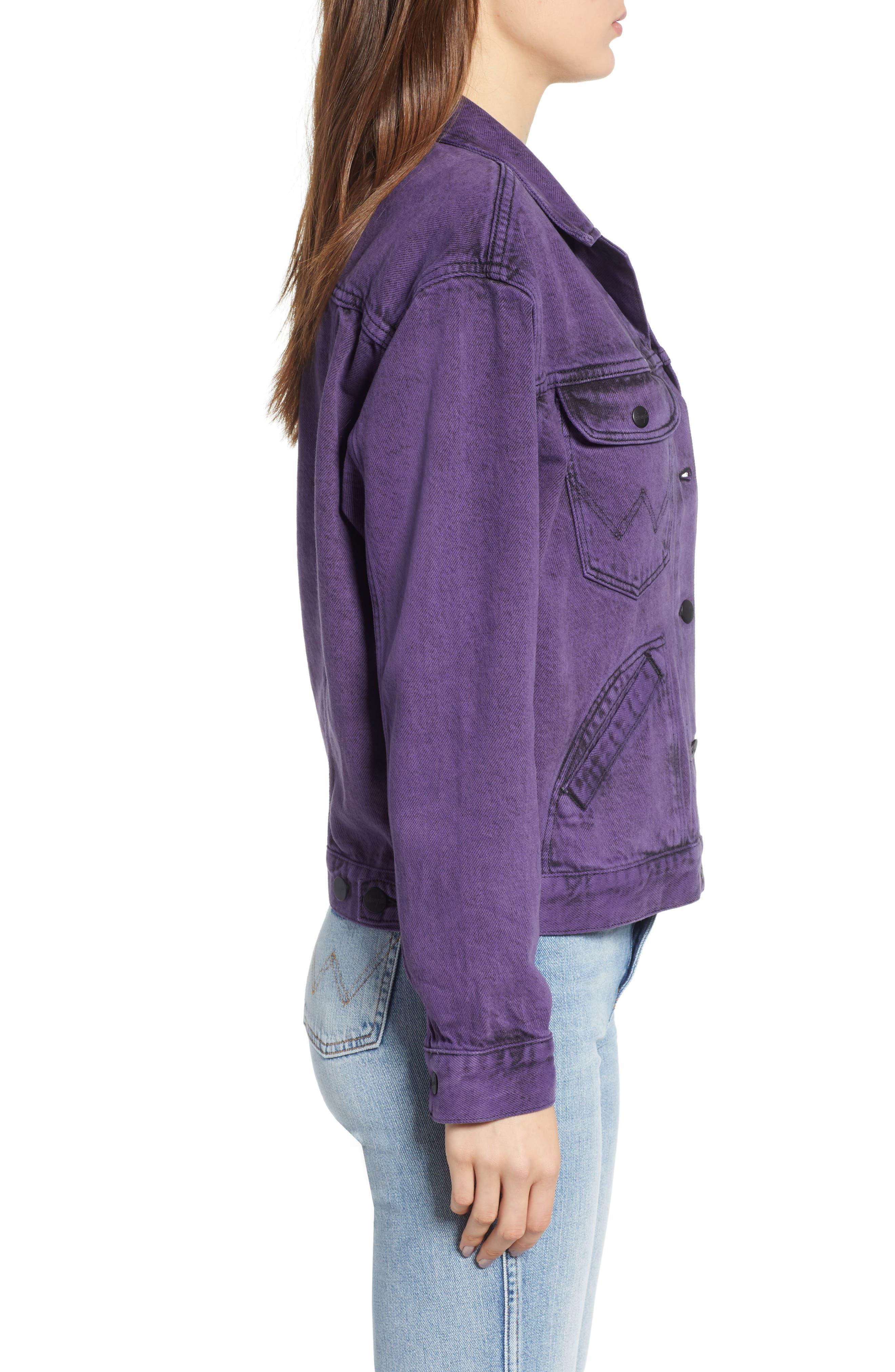 Denim Jacket,                             Alternate thumbnail 3, color,                             Purple Pop