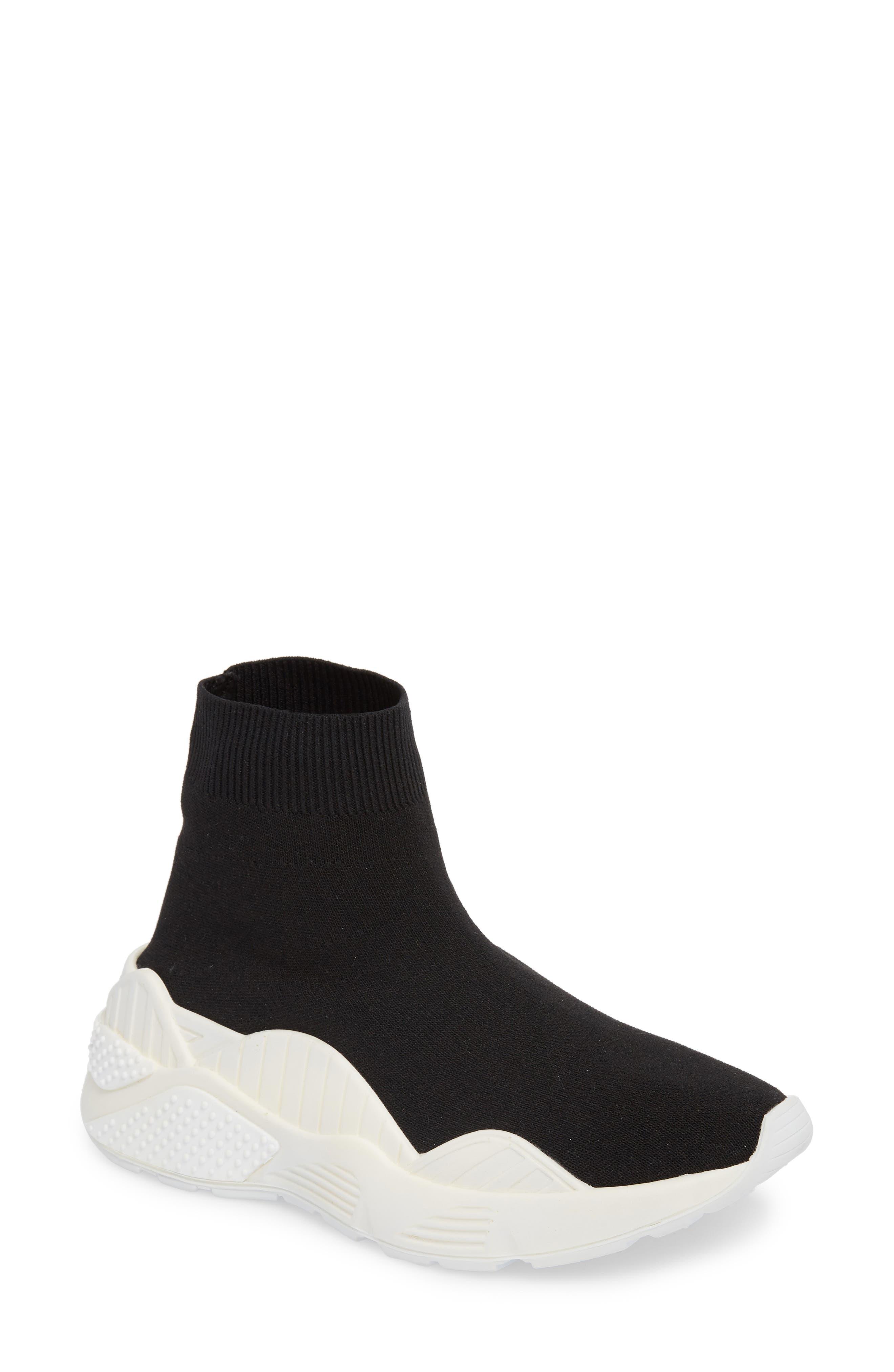 Lunix Sock Sneaker,                             Main thumbnail 1, color,                             Black/ White Leather