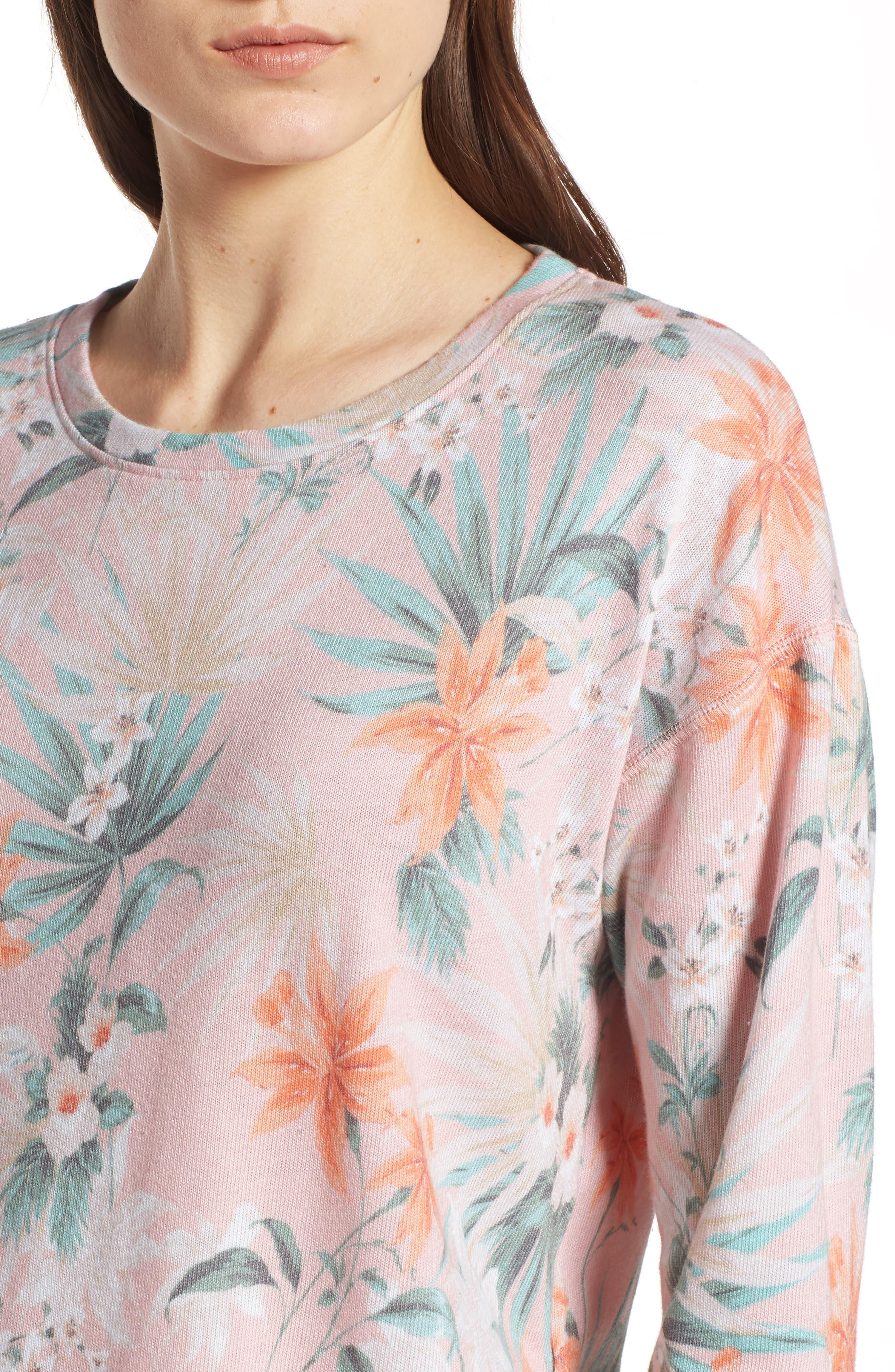 Tropical Crop Sweatshirt,                             Alternate thumbnail 3, color,                             Peach
