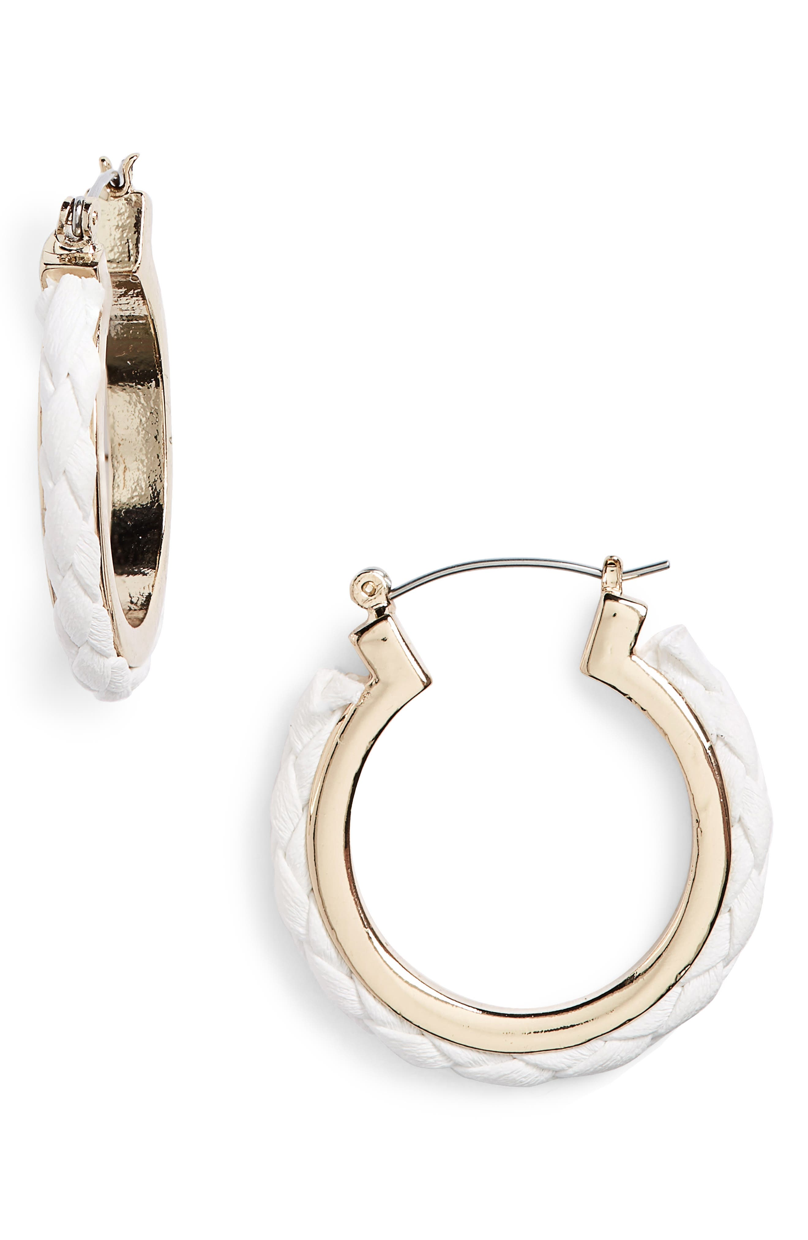Fabric Plait Hoop Earrings,                             Main thumbnail 1, color,                             White