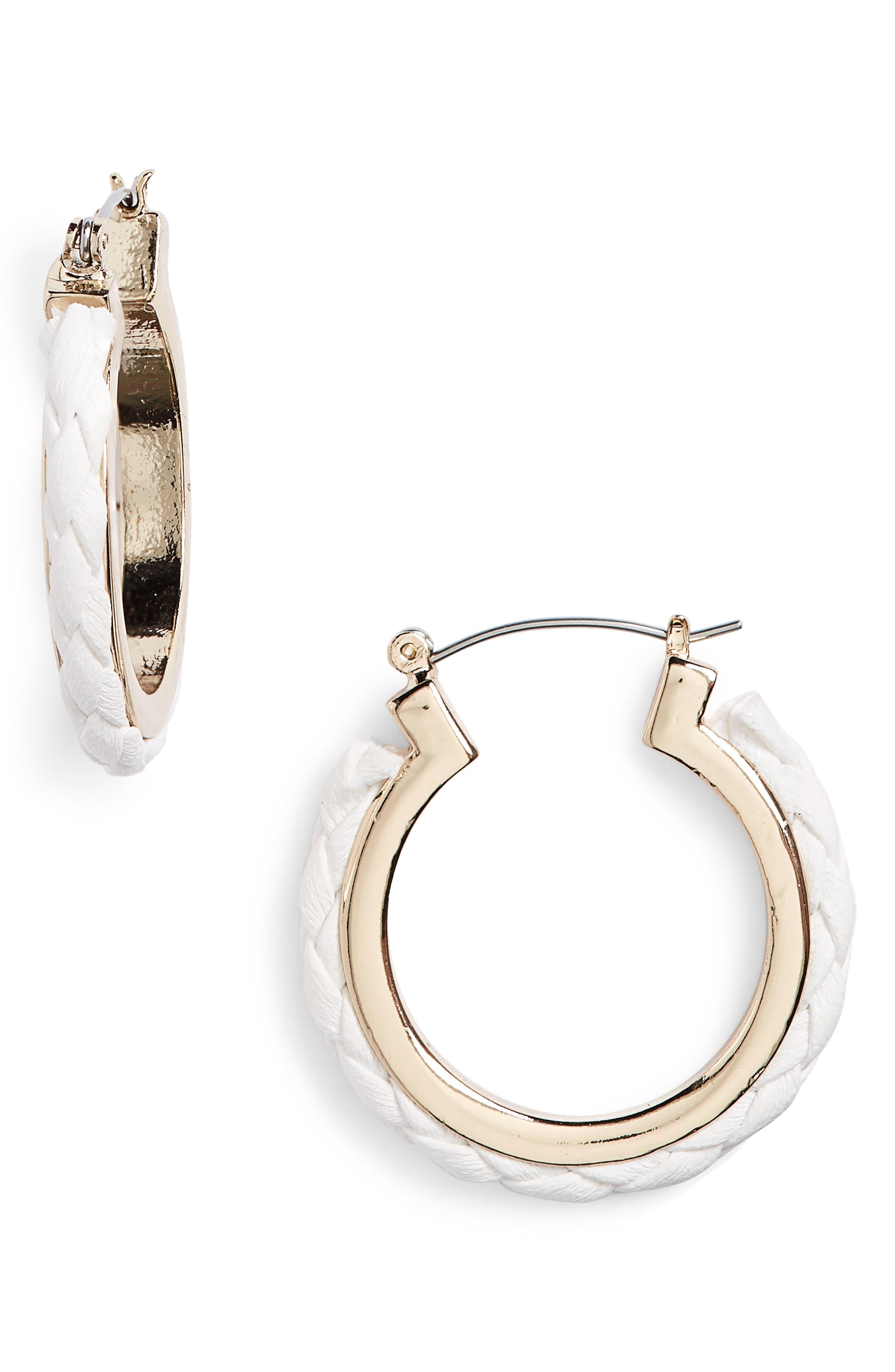 Fabric Plait Hoop Earrings,                         Main,                         color, White