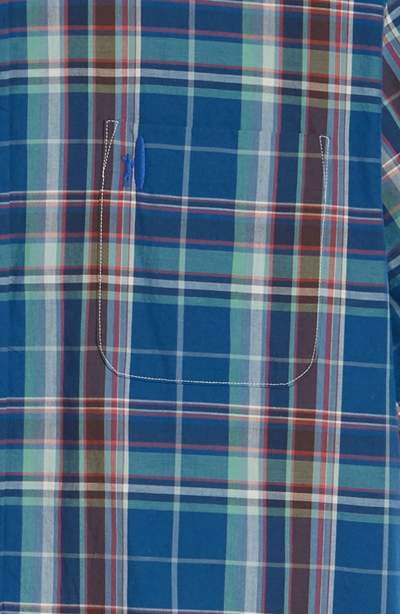 Exum Classic Fit Plaid Sport Shirt,                             Alternate thumbnail 3, color,                             Lake