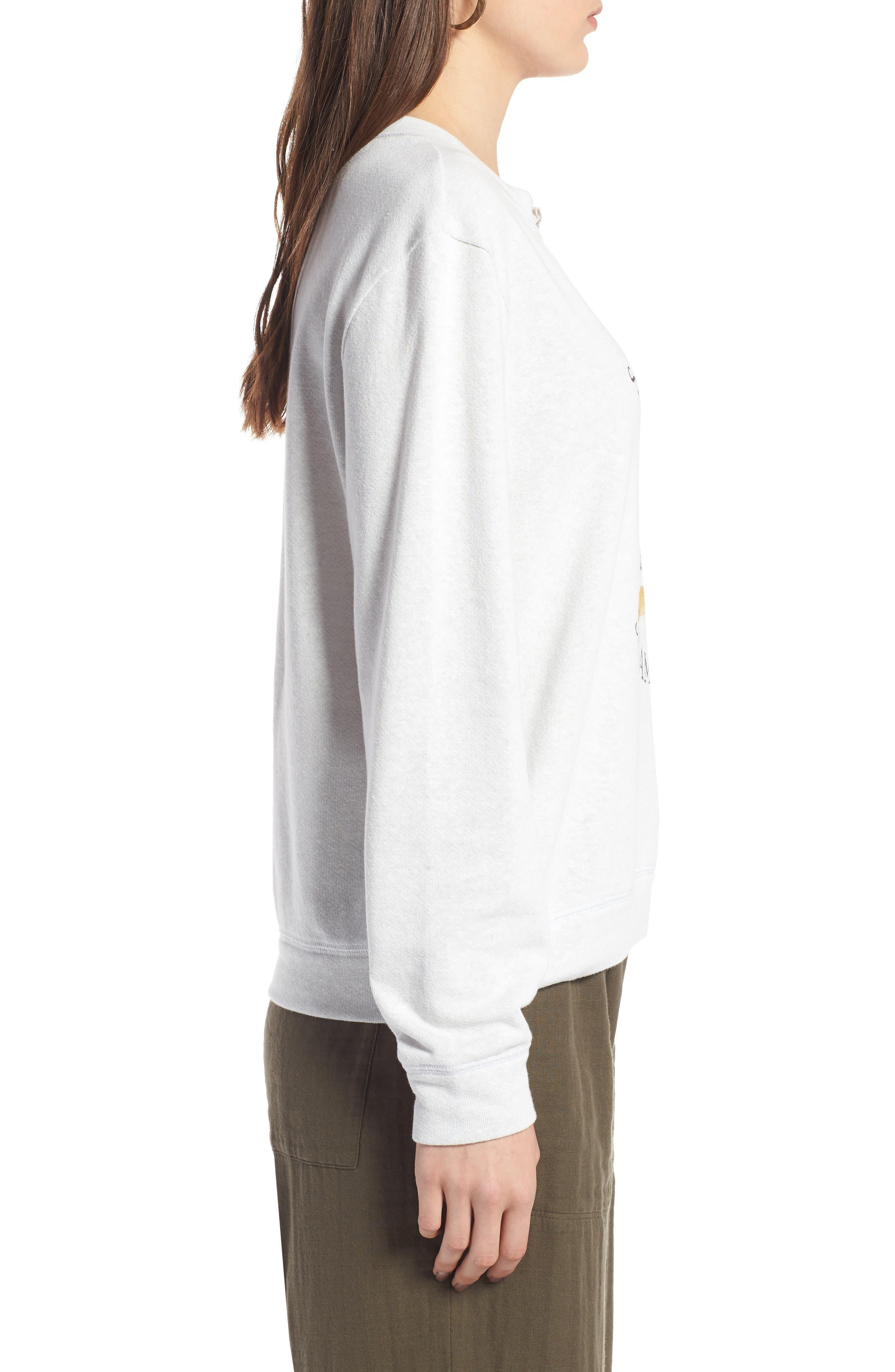 Split Neck Graphic Sweatshirt,                             Alternate thumbnail 3, color,                             White Salamanders
