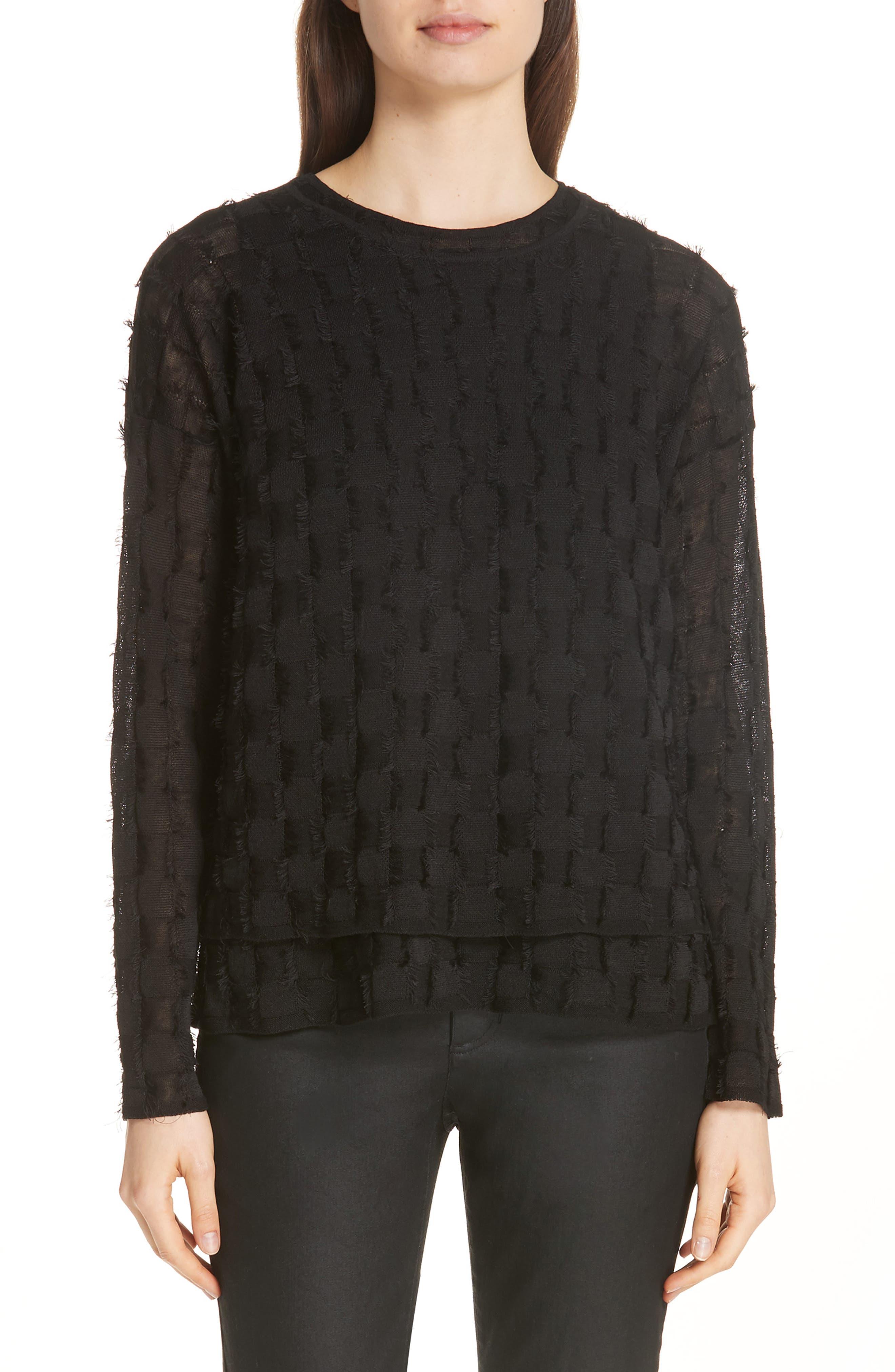 Fringe Knit Sweater,                             Main thumbnail 1, color,                             Black