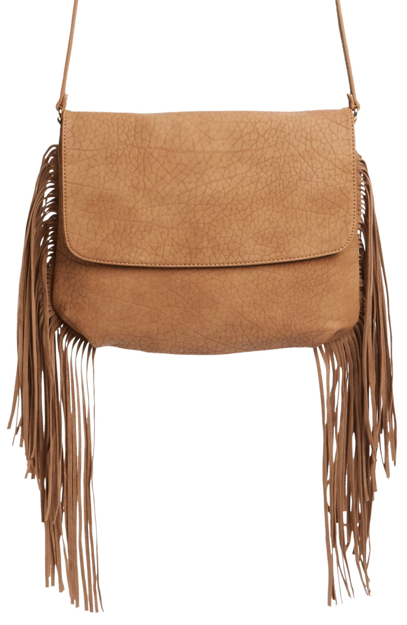 Maya Fringe Faux Leather Crossbody Bag,                             Main thumbnail 1, color,                             Cognac
