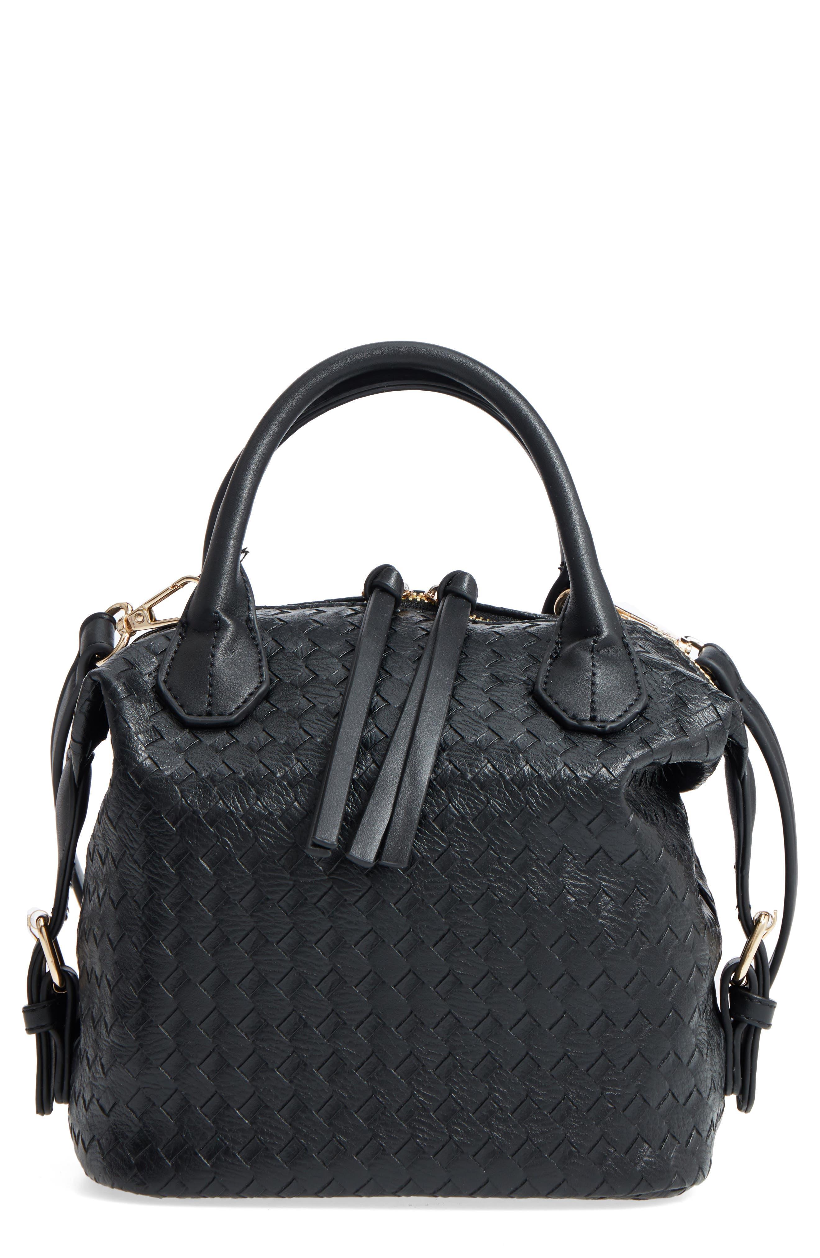 Patrice Woven Faux Leather Mini Satchel,                         Main,                         color, Black