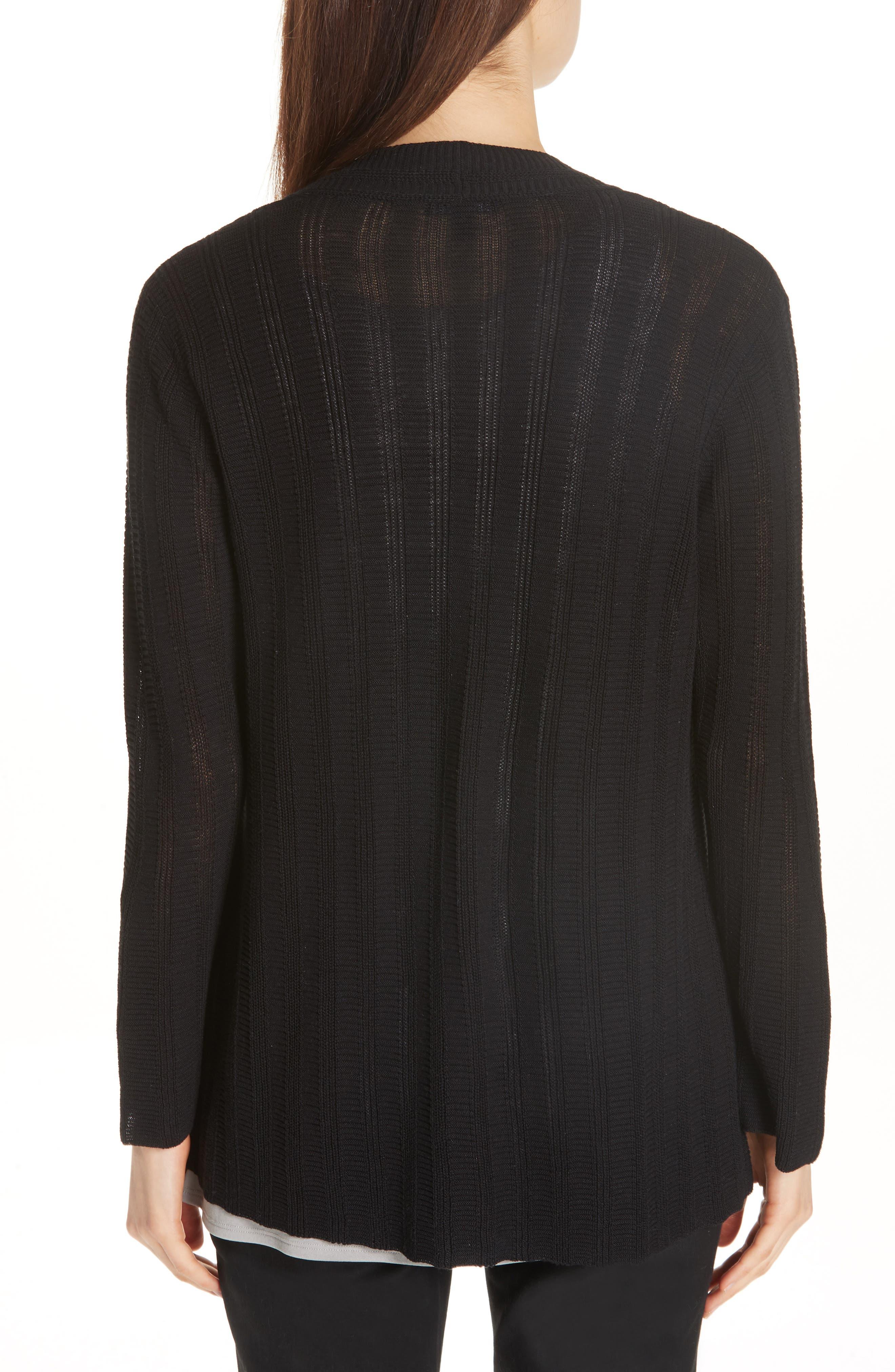 Bell Cuff Silk Blend Cardigan,                             Alternate thumbnail 2, color,                             Black