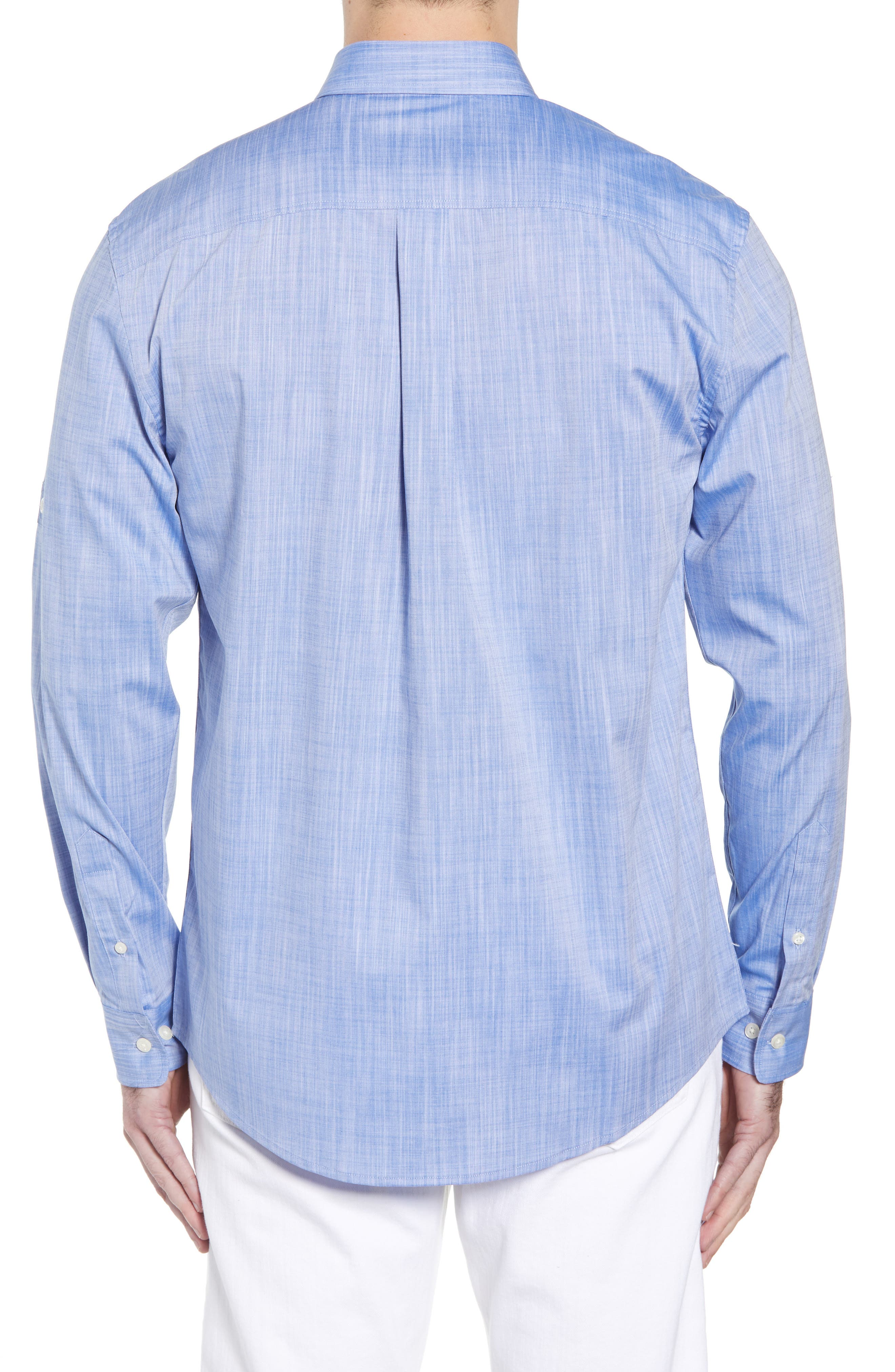Hutton Classic Fit Shirt,                             Alternate thumbnail 3, color,                             Deep Water