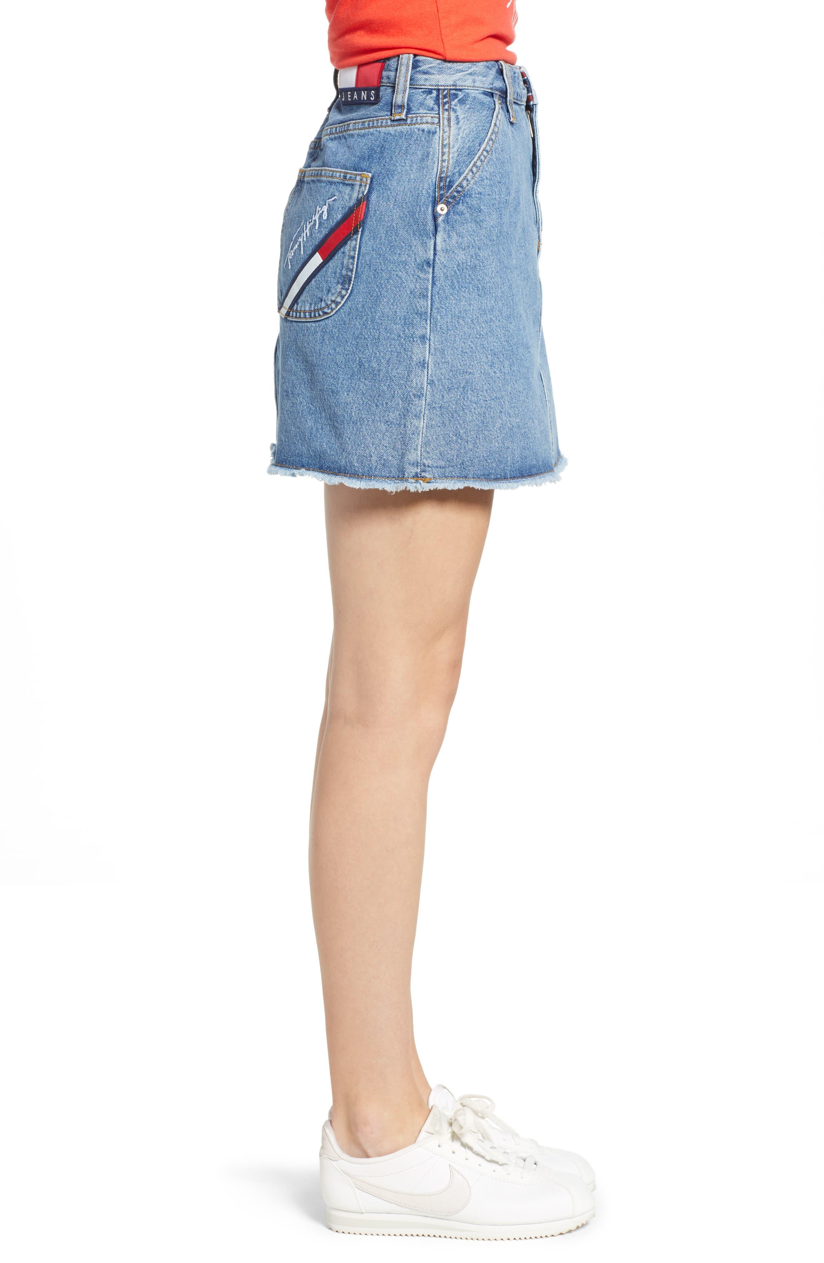90s Denim Skirt,                             Alternate thumbnail 6, color,                             Mid Blue Denim