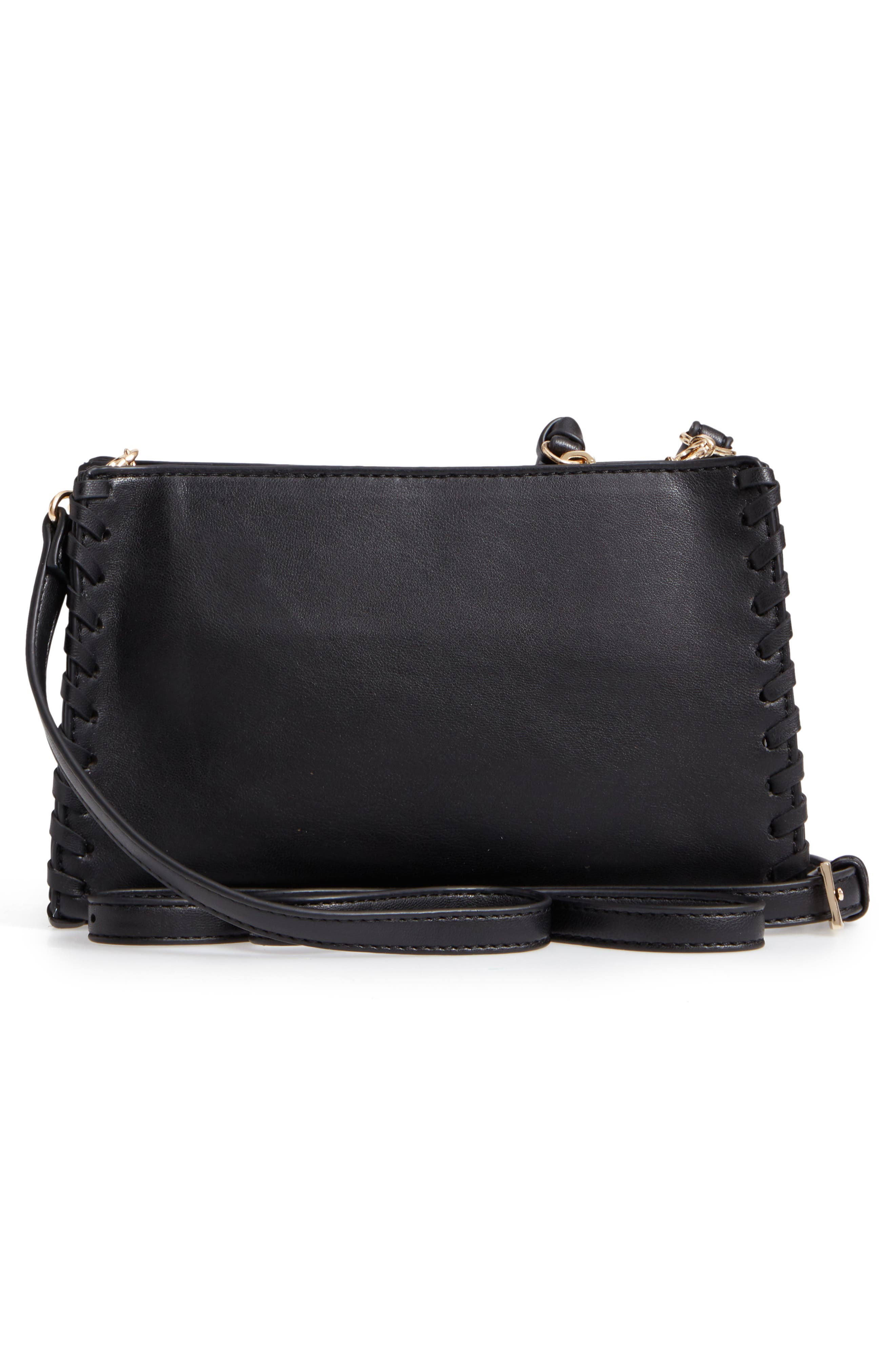 Cadence Whipstitch Faux Leather Crossbody Bag,                             Alternate thumbnail 3, color,                             Black