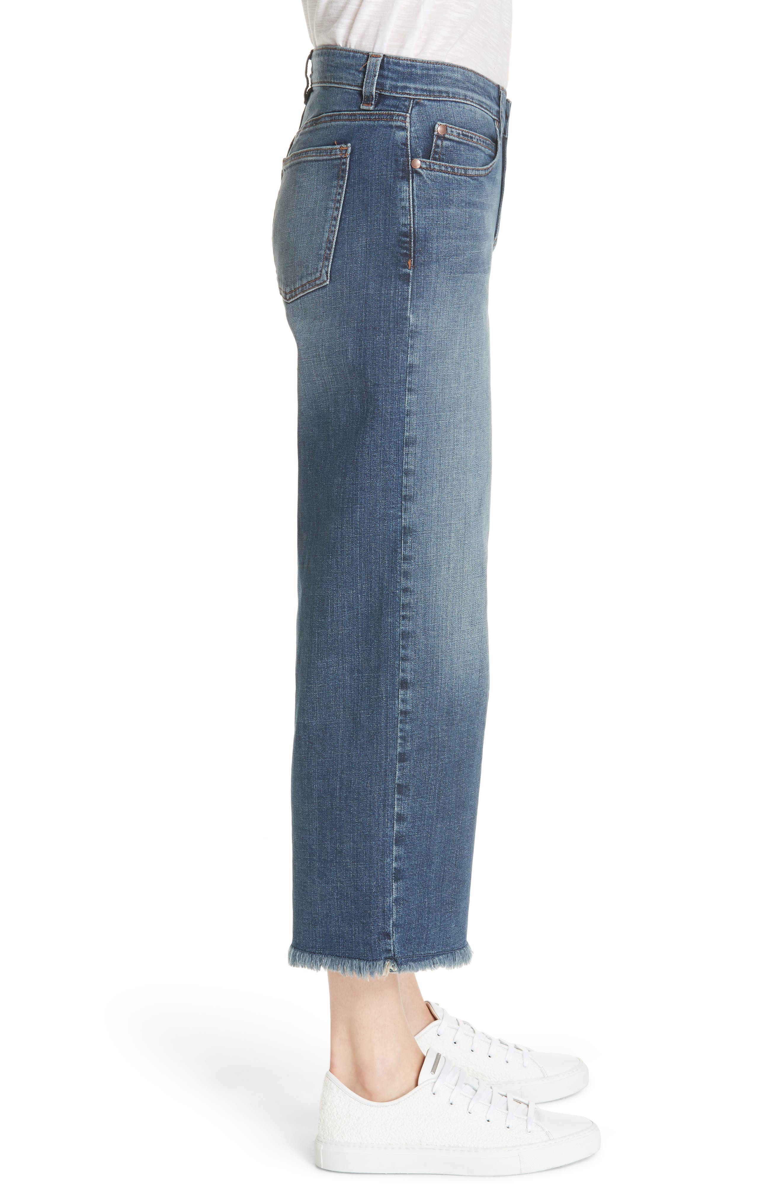 Frayed Wide Leg Ankle Jeans,                             Alternate thumbnail 3, color,                             Aged Indigo
