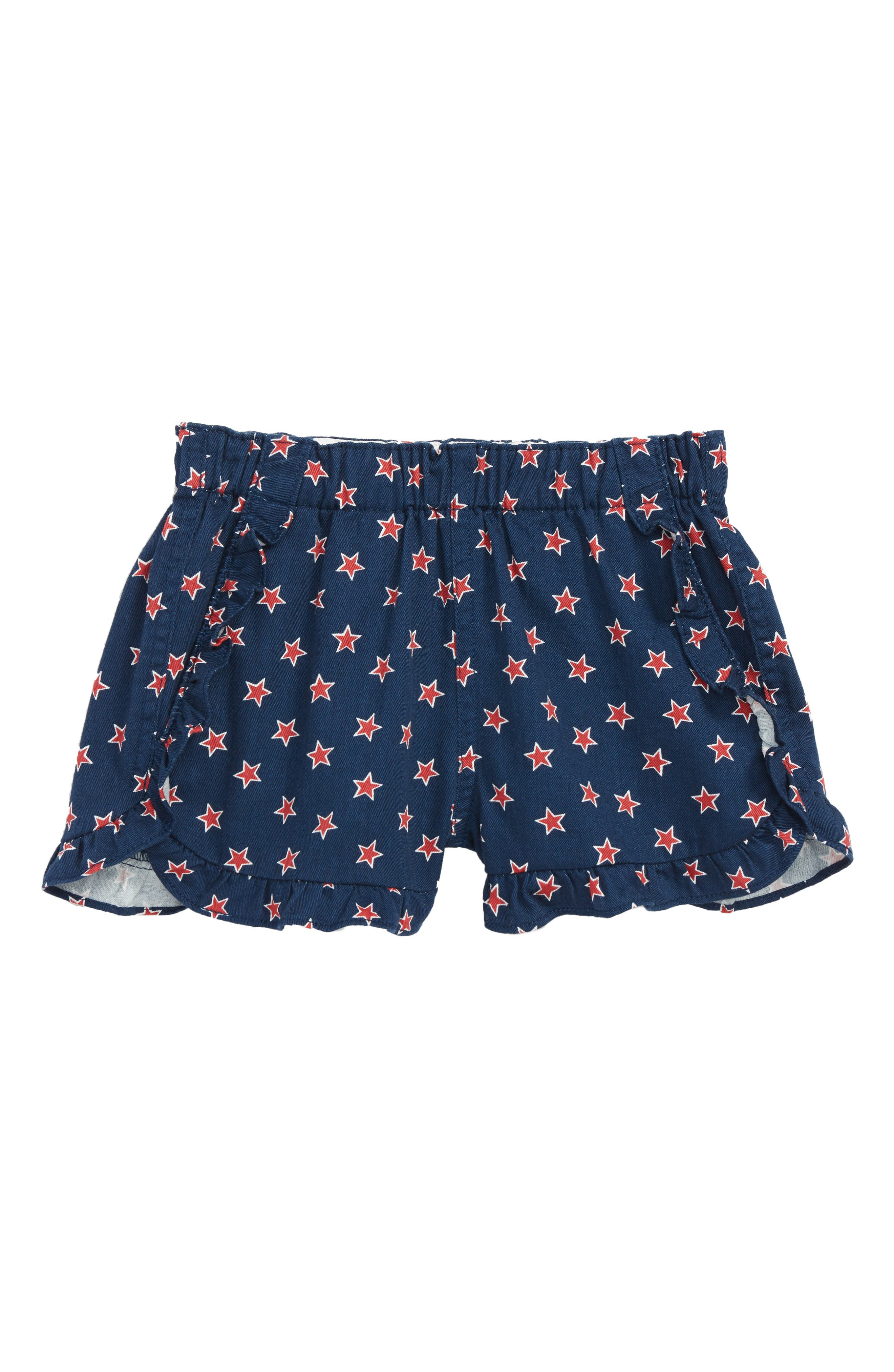 Star Print Ruffle Pull-On Shorts,                             Main thumbnail 1, color,                             Dark Indigo