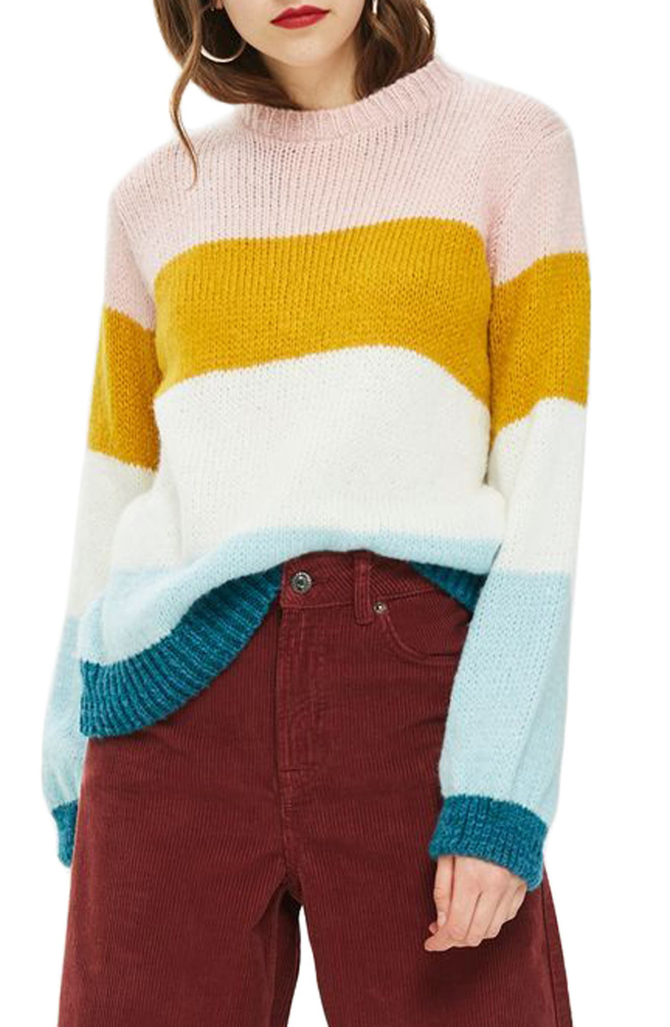 Colorblock Knit Pullover,                             Main thumbnail 1, color,                             Ivory Multi