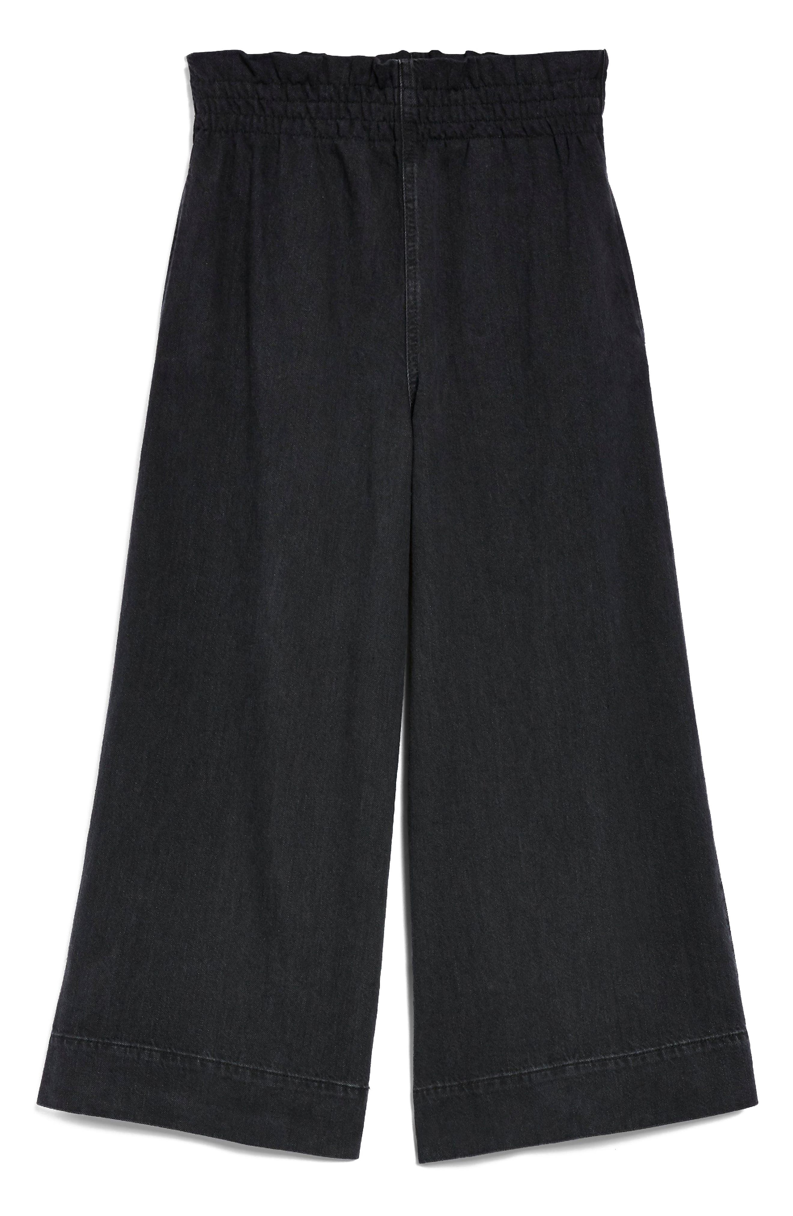 Wide Leg Crop Jeans,                             Alternate thumbnail 3, color,                             Washed Black