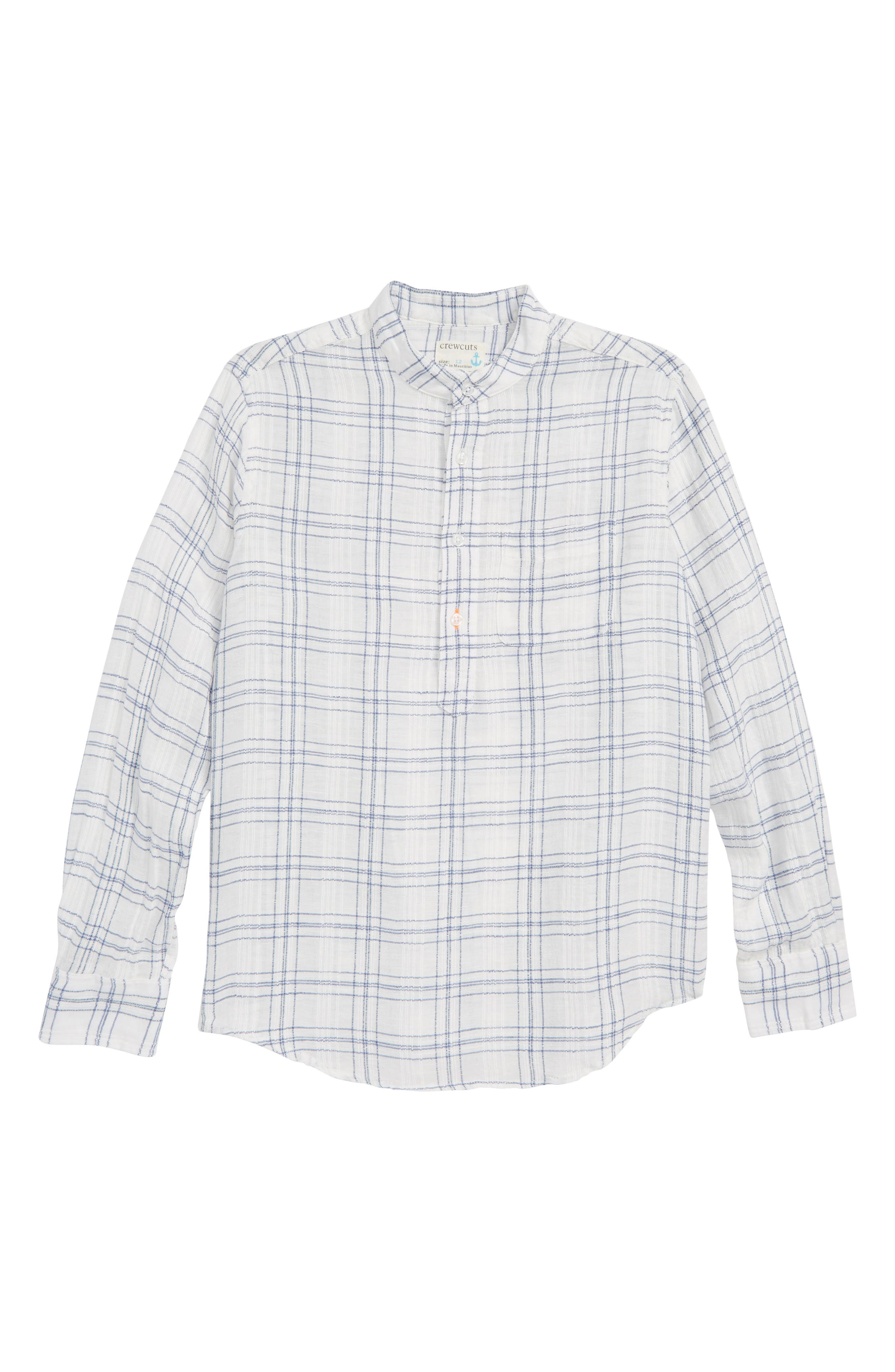 Windowpane Band Collar Linen Blend Shirt,                         Main,                         color, Ivory