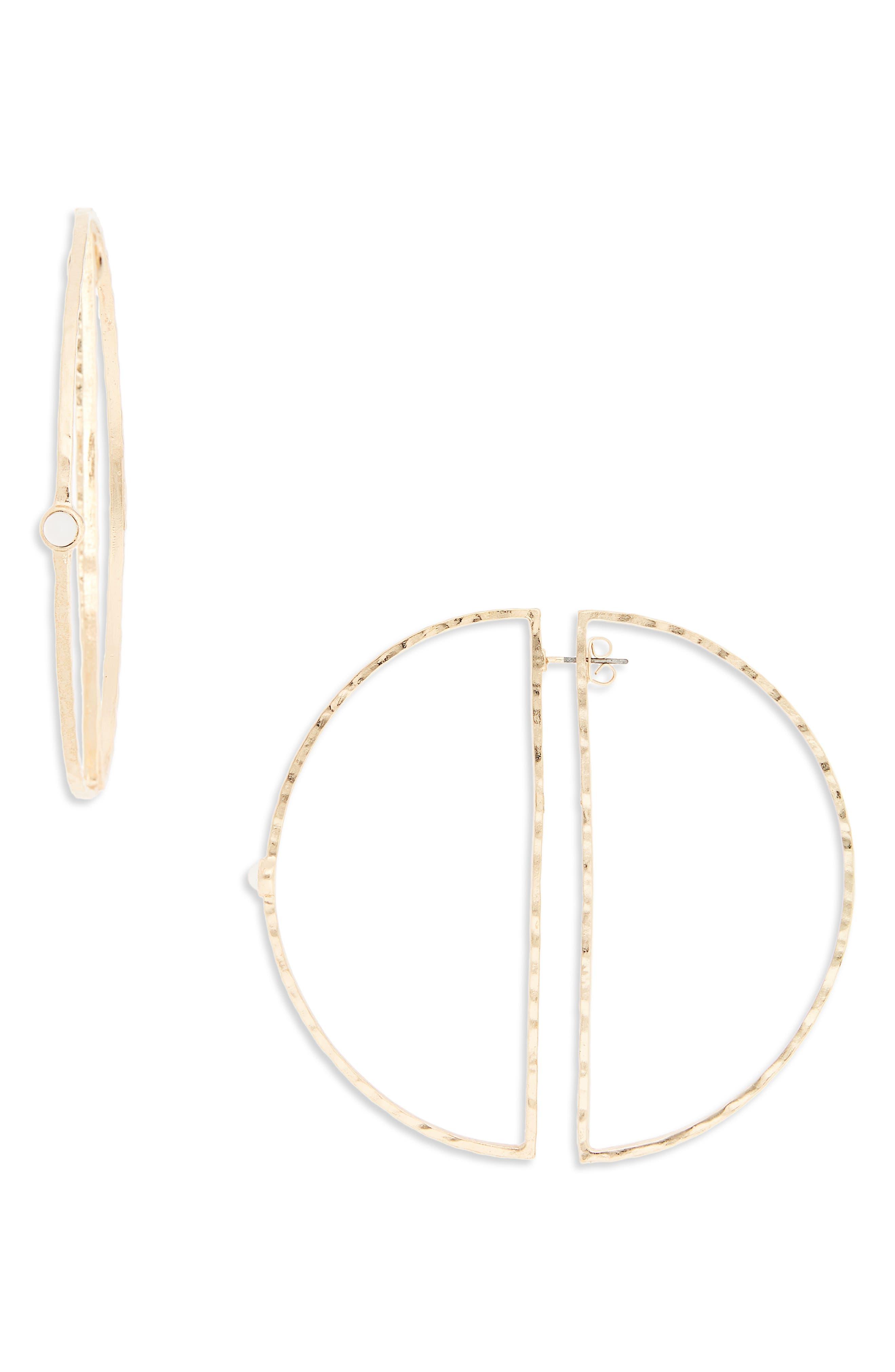 Imitation Pearl Hoop Ear Jackets,                         Main,                         color, Gold/ White