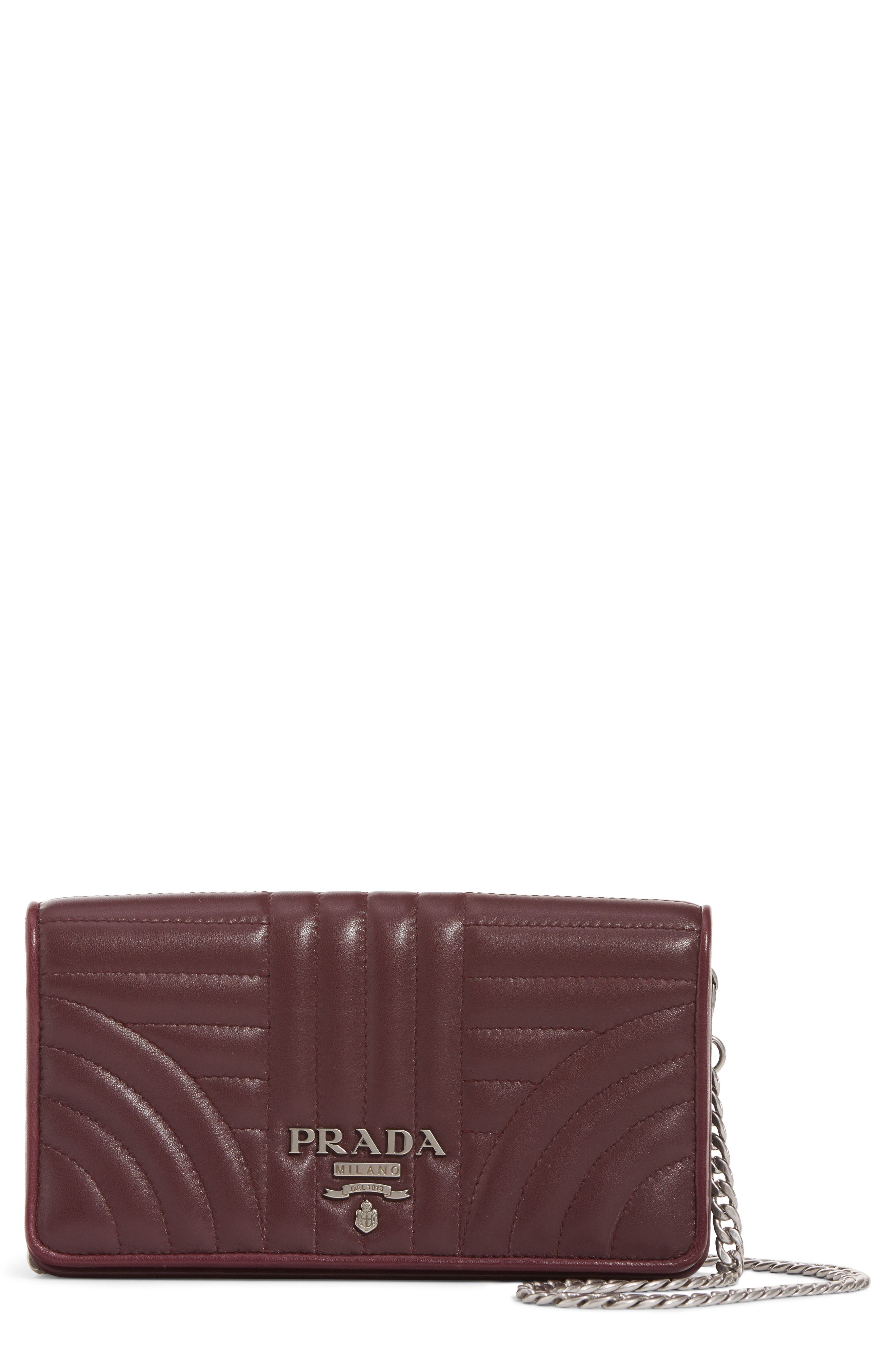 Quilted Leather Wallet on a Chain,                             Main thumbnail 1, color,                             Granato