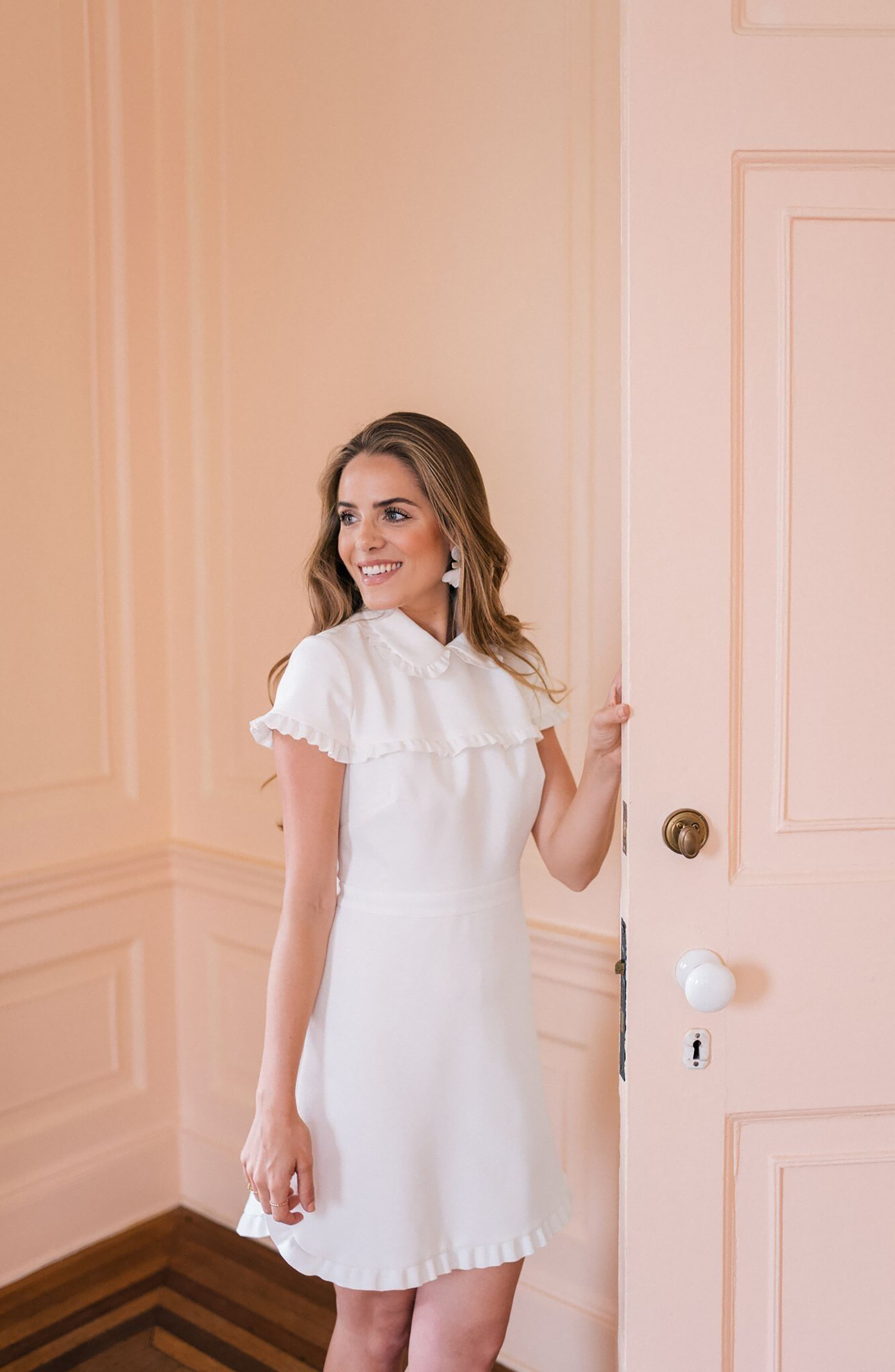Emma Ruffle Crepe Dress, Alternate, color, White