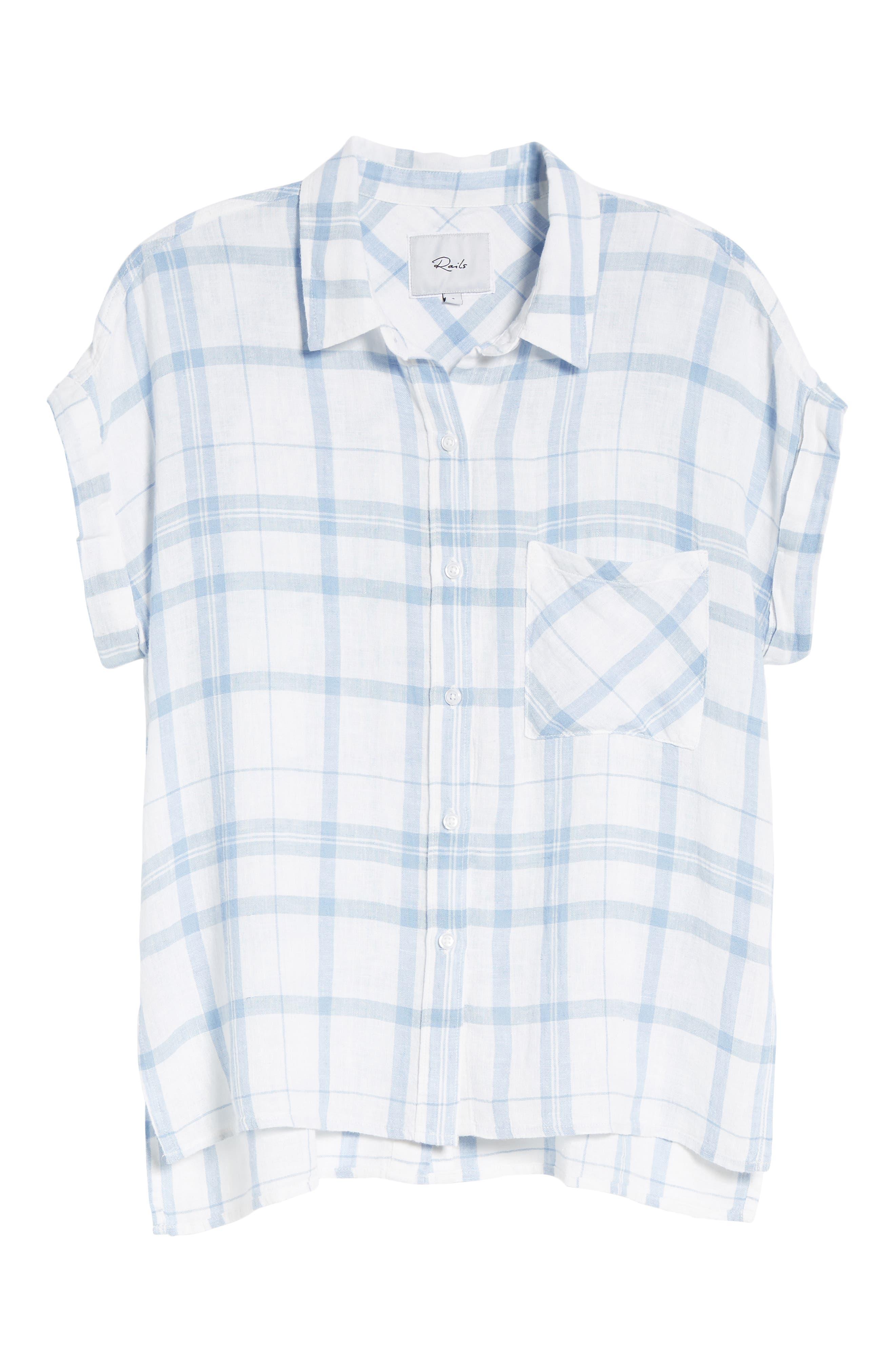 Mia Plaid Shirt,                             Alternate thumbnail 7, color,                             True Blue White
