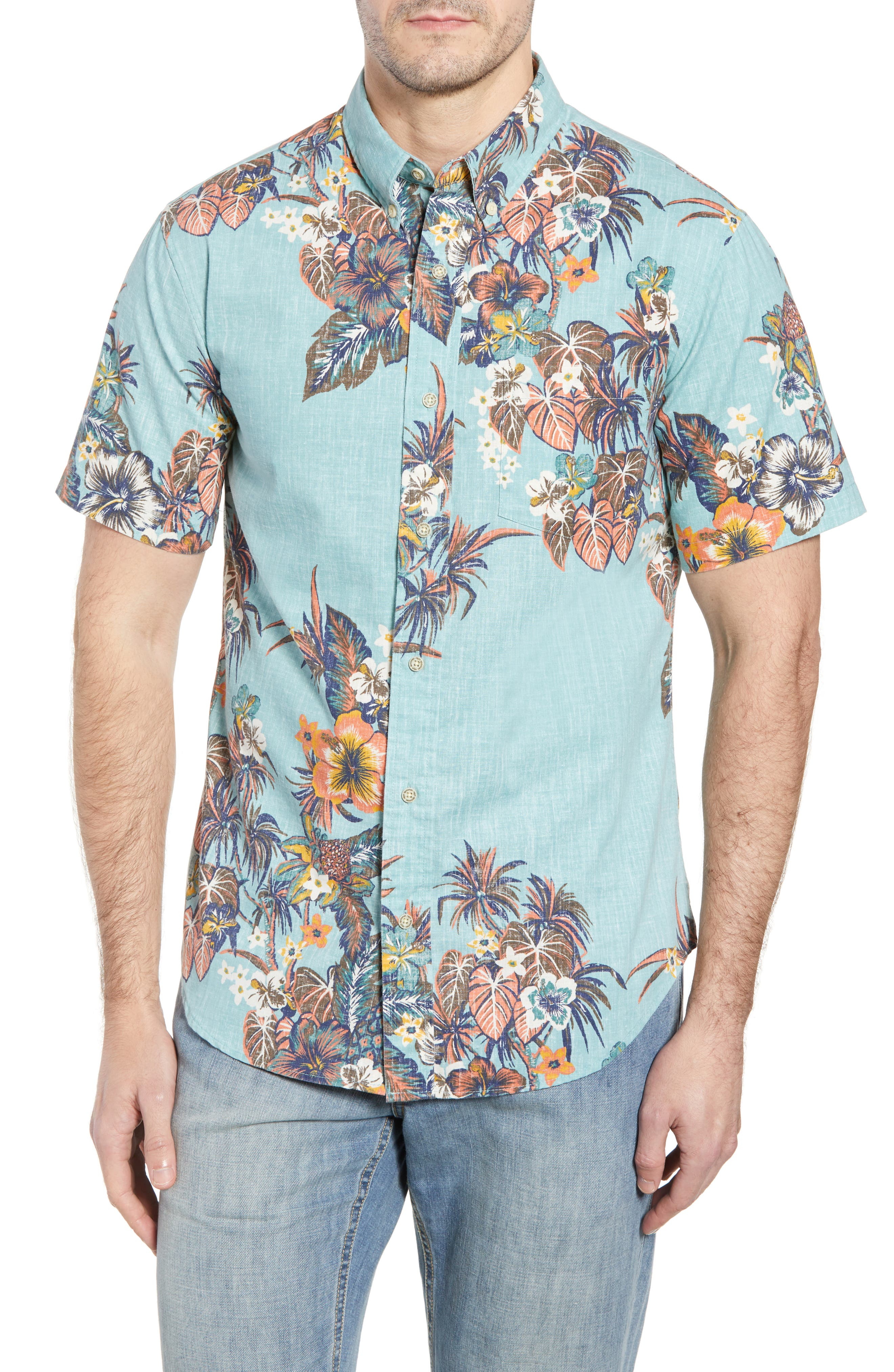 Pupas & Mai Tais Regular Fit Sport Shirt,                         Main,                         color, Blue