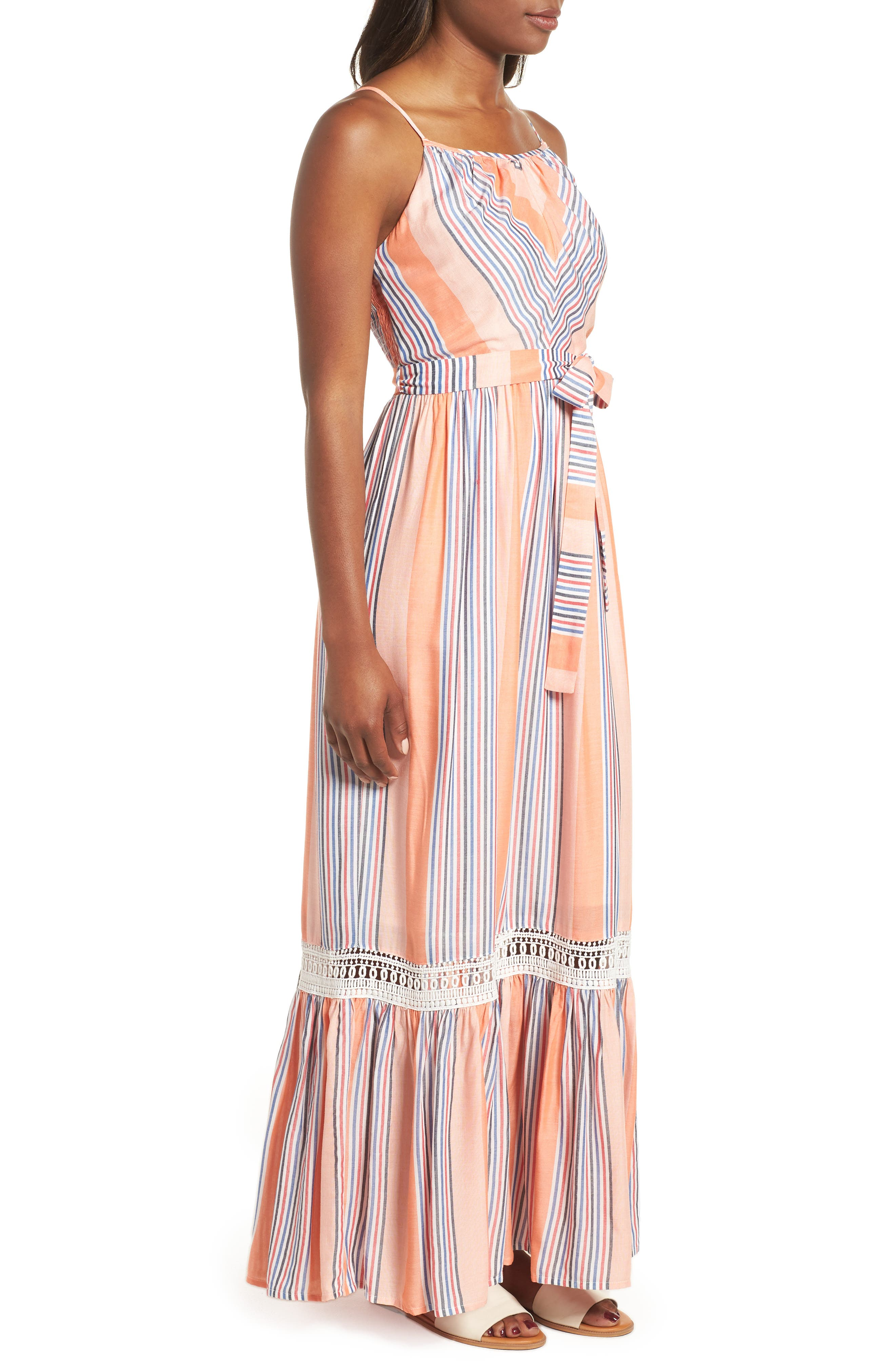 Tie Waist Cotton Maxi Dress,                             Alternate thumbnail 3, color,                             Orange Stripe