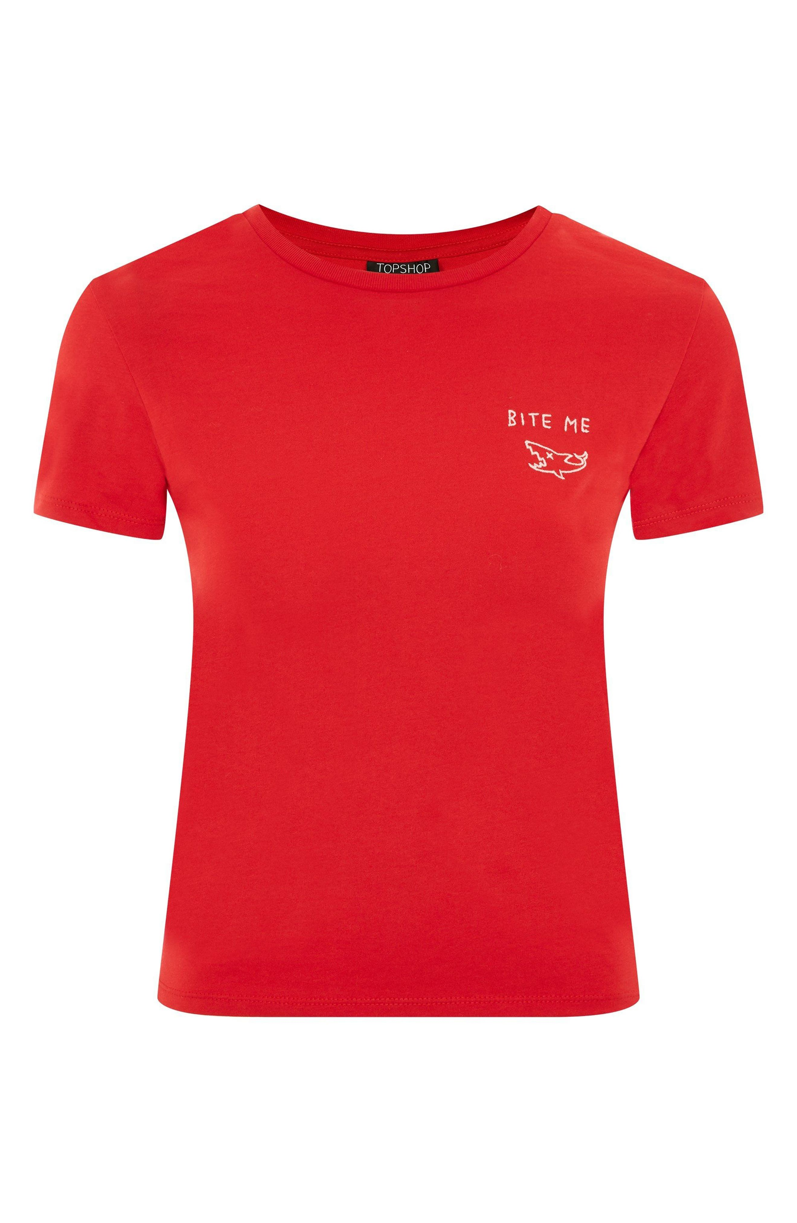 Bite Me Embroidered Tee,                             Alternate thumbnail 3, color,                             Red
