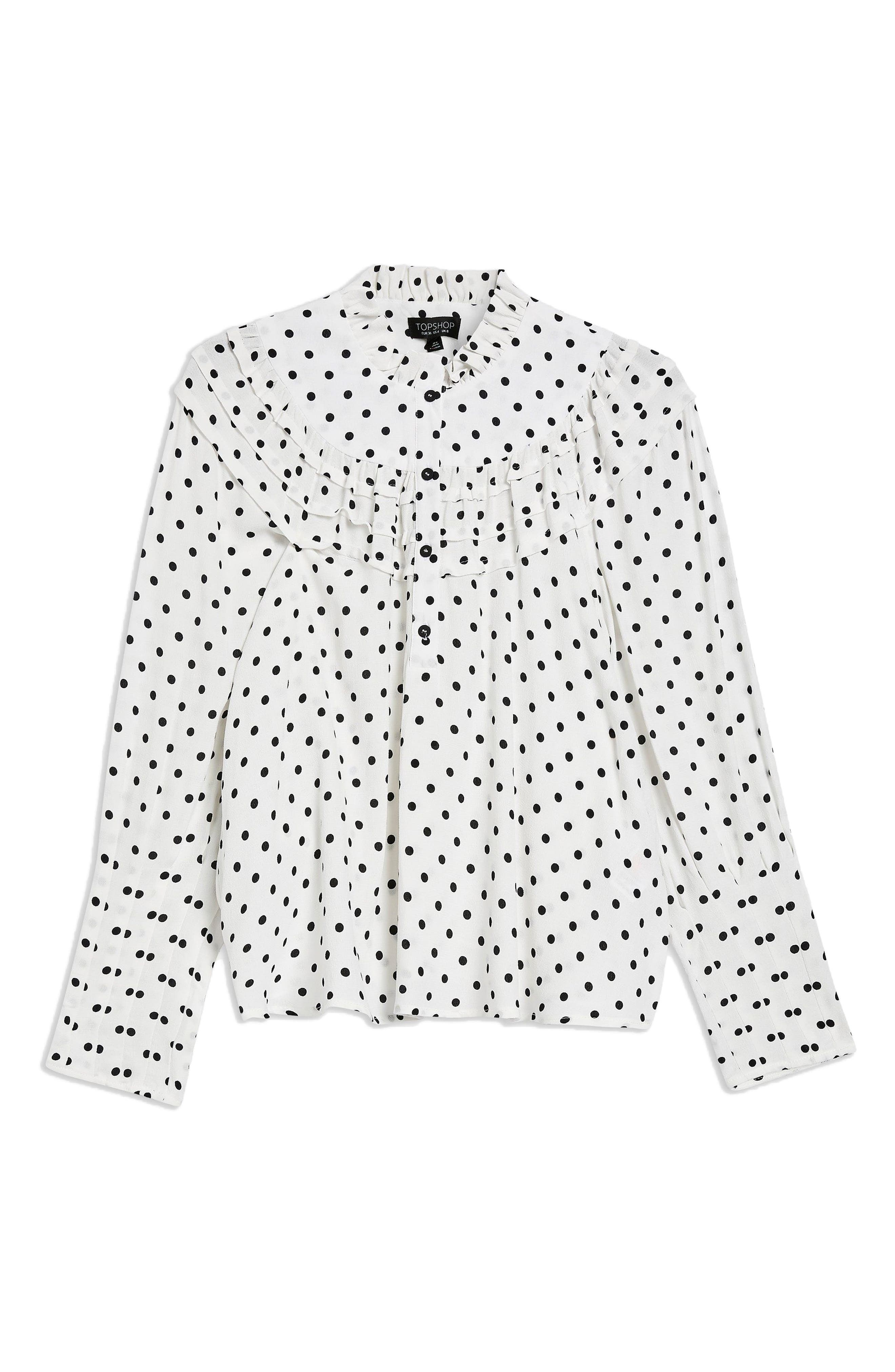Polka Dot Blouse,                         Main,                         color, White Multi