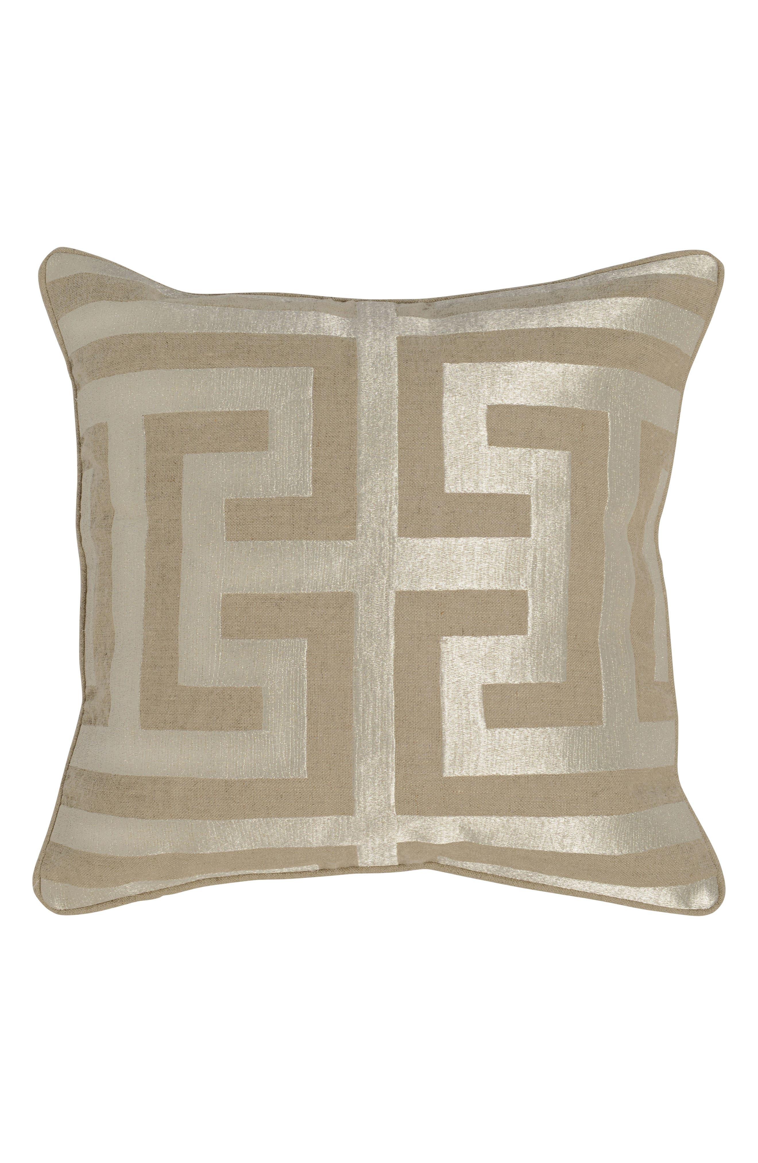 'Capital' Decorative Pillow,                             Main thumbnail 1, color,                             Natural/ Silver