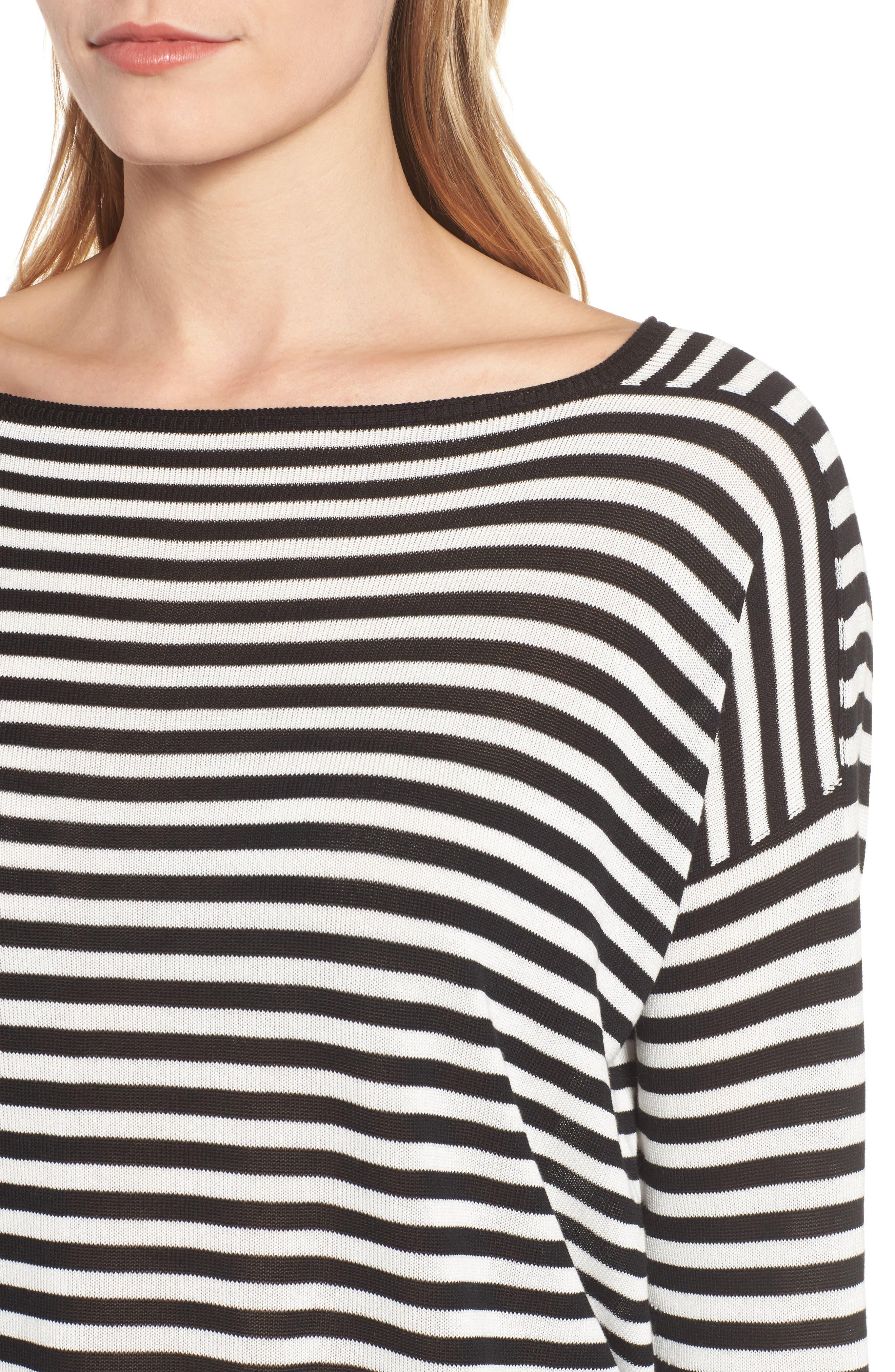 Stripe Tencel<sup>®</sup> Lyocell Knit Sweater,                             Alternate thumbnail 4, color,                             Black/ Soft White
