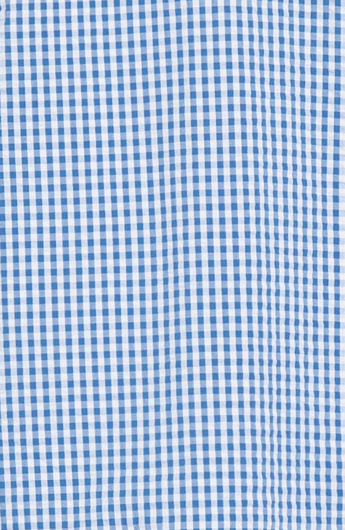 Slim Fit Gingham Seersucker Sport Shirt,                             Alternate thumbnail 5, color,                             Calm Lagoon
