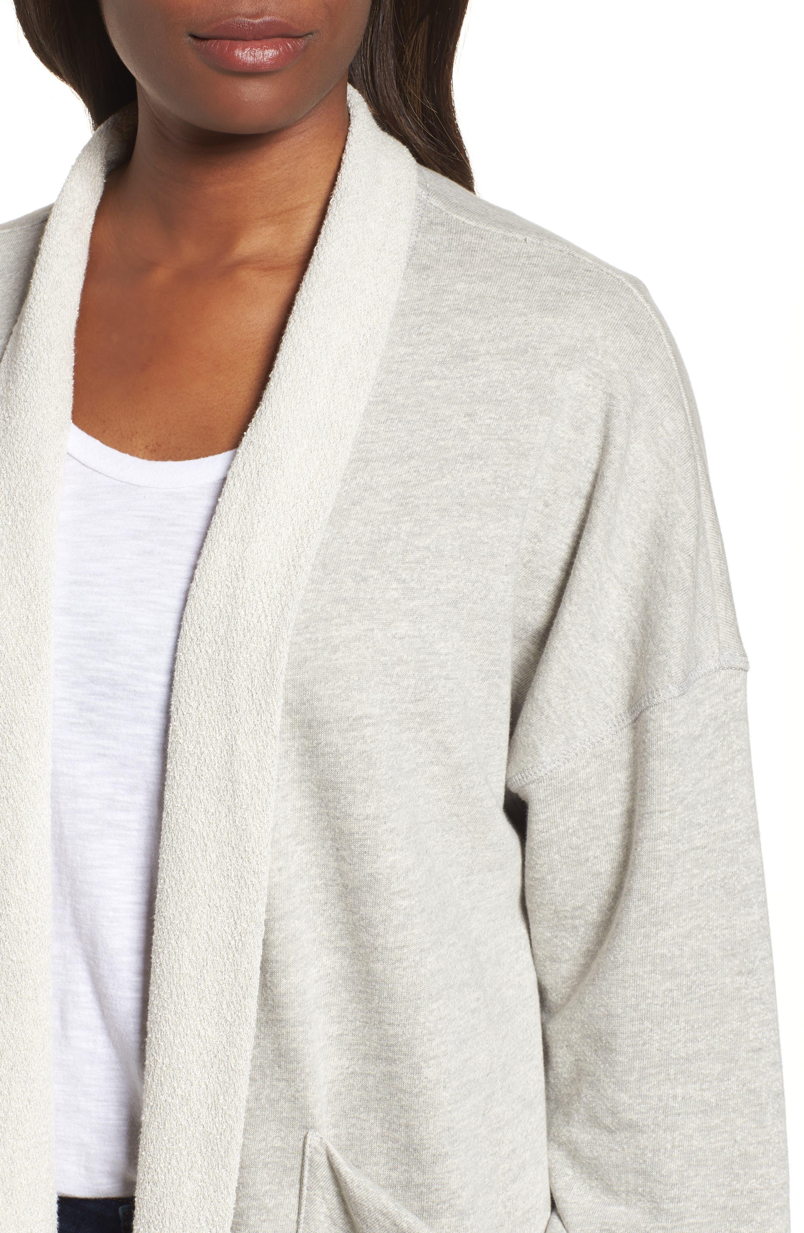 Off-Duty Roll Sleeve Cotton Blend Jacket,                             Alternate thumbnail 4, color,                             Grey Heather