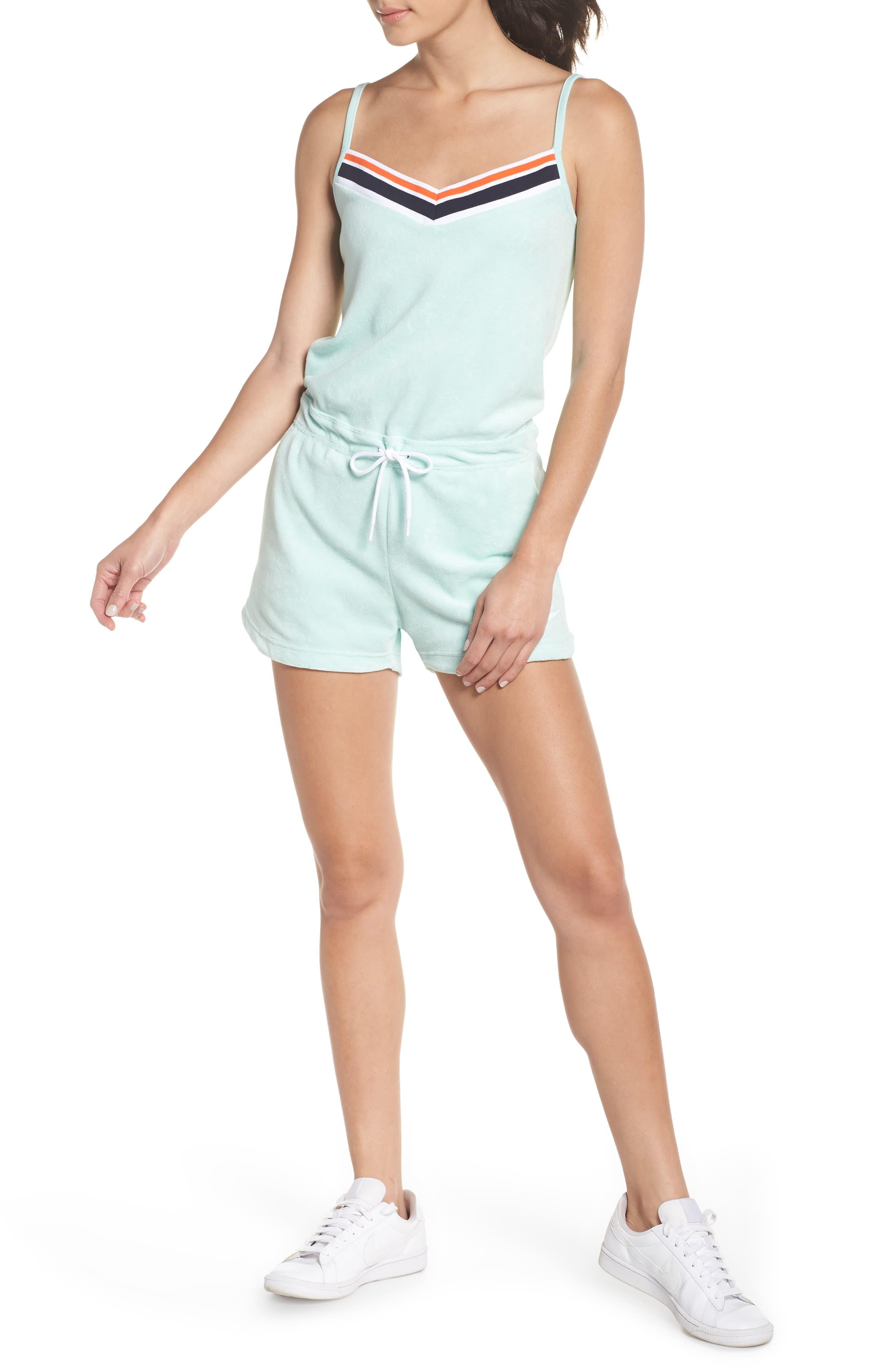 Sportswear Terry Romper,                         Main,                         color, Igloo/ Igloo/ White