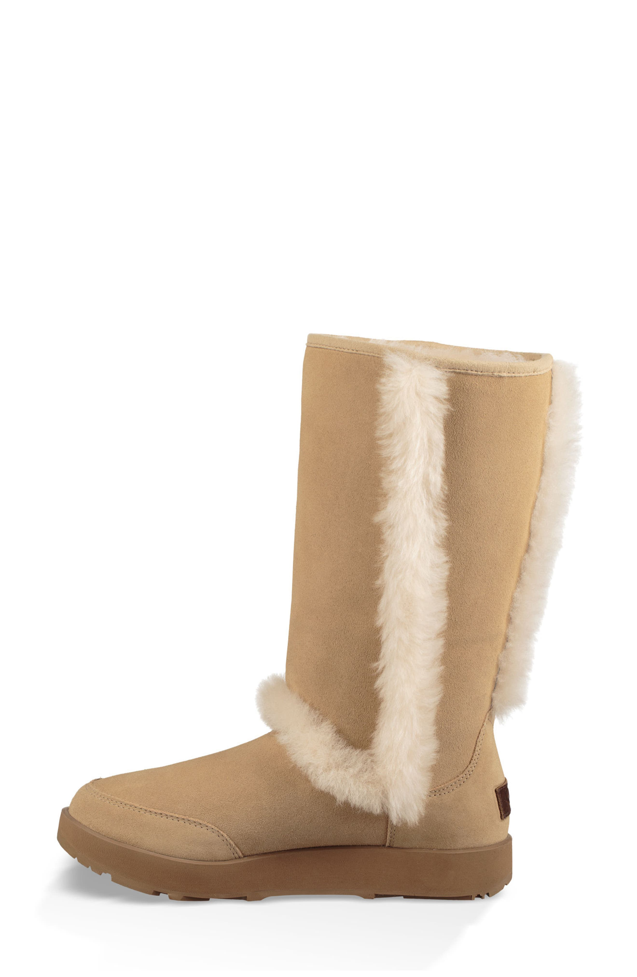 Sundance Genuine Shearling Waterproof Boot,                             Alternate thumbnail 3, color,                             Sand Suede