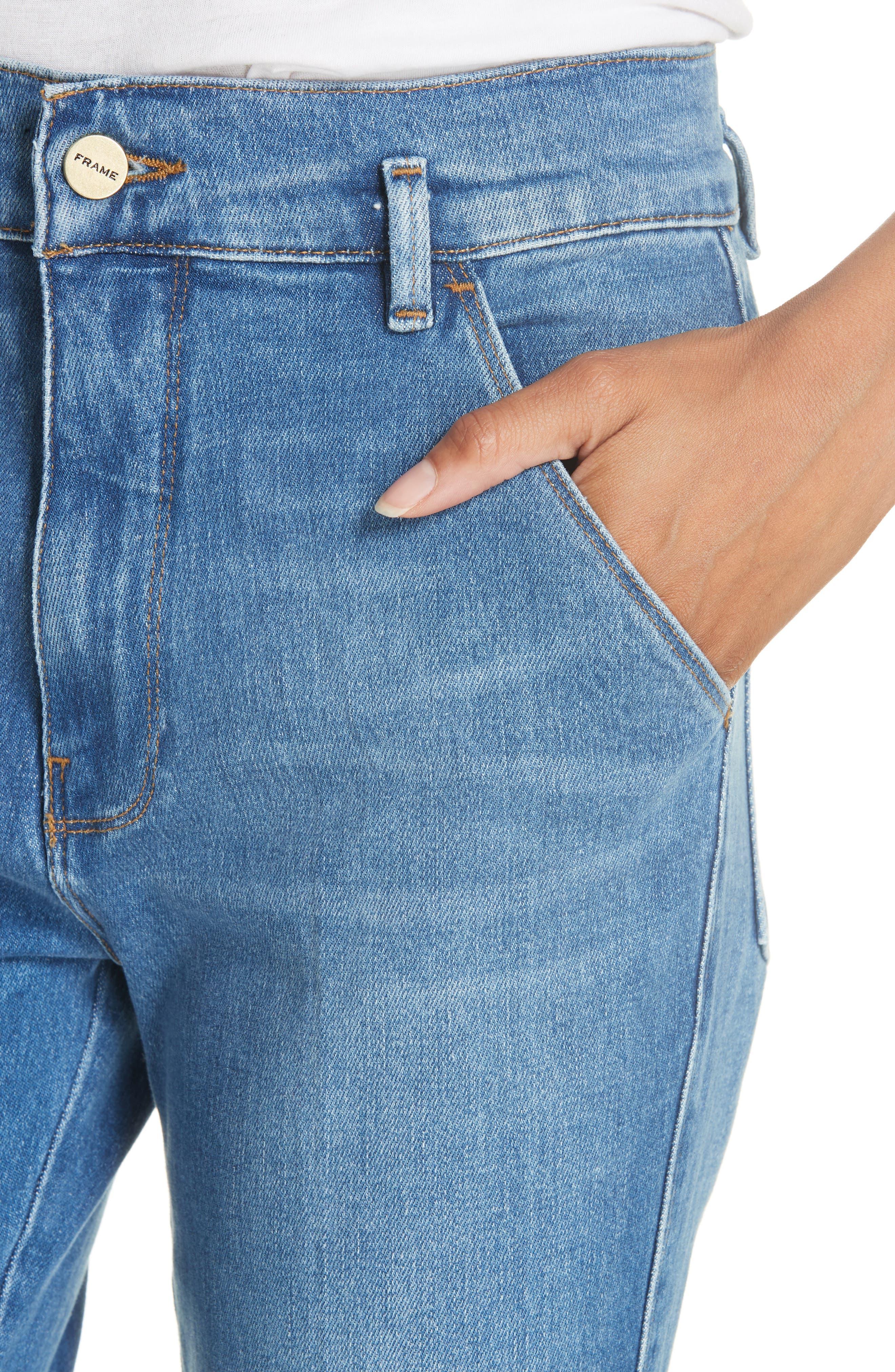 Le Slender Straight Leg Jeans,                             Alternate thumbnail 4, color,                             Thistle