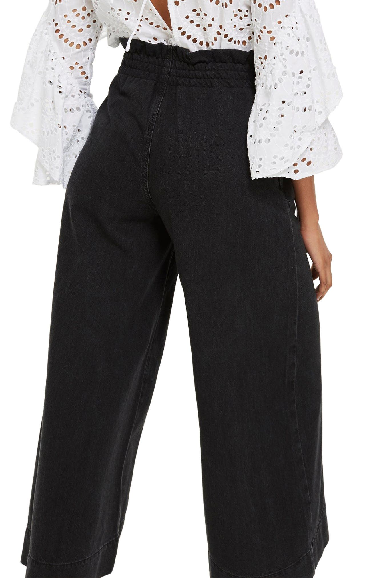 Wide Leg Crop Jeans,                             Alternate thumbnail 2, color,                             Washed Black