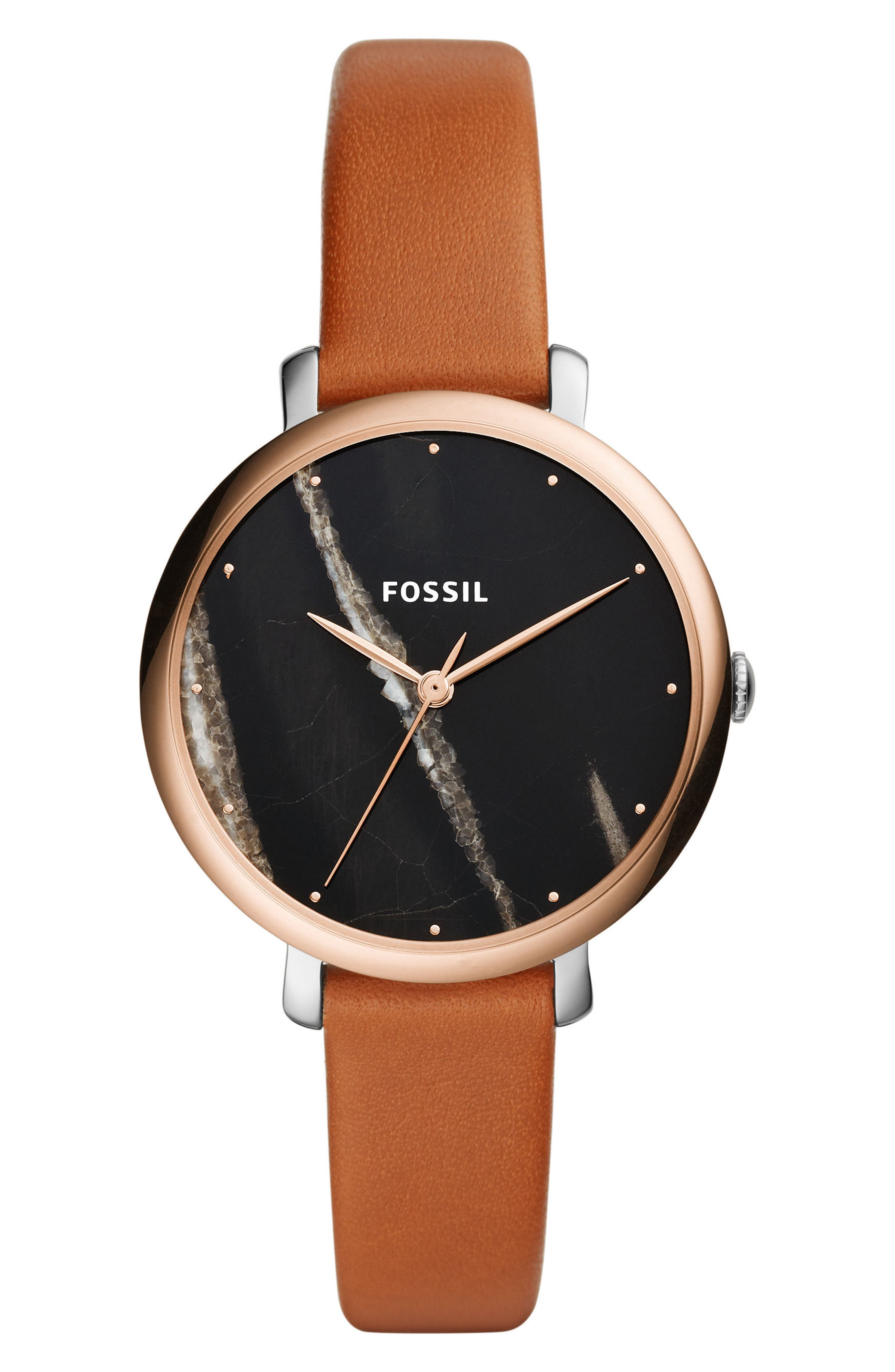 Jacqueline Stone Dial Leather Strap Watch, 36mm,                         Main,                         color, Brown/ Black/ Silver