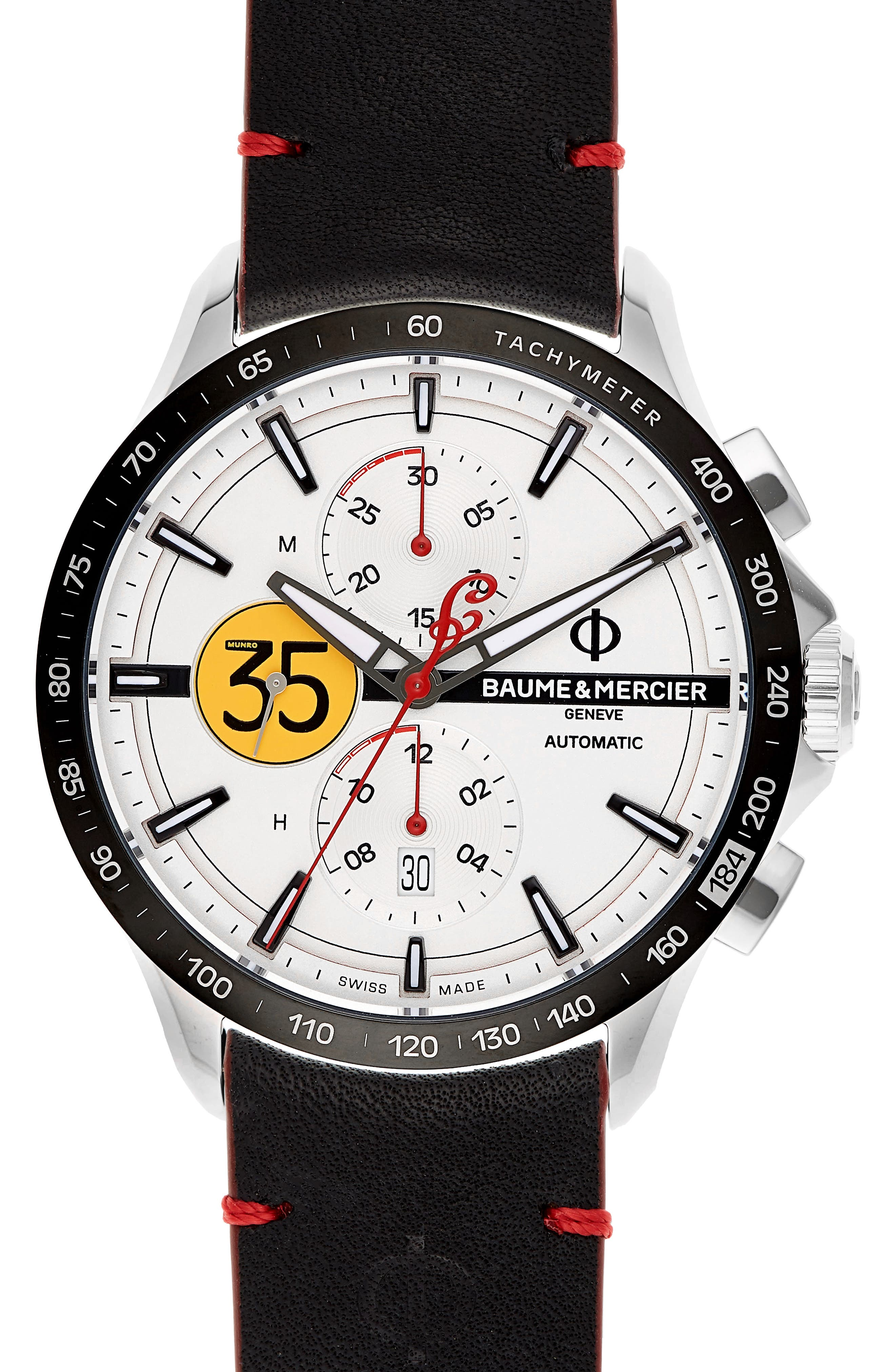 Baume & Mercier Clifton Limited Edition Automatic Leather Strap Watch, 44mm,                             Alternate thumbnail 4, color,                             White/Red