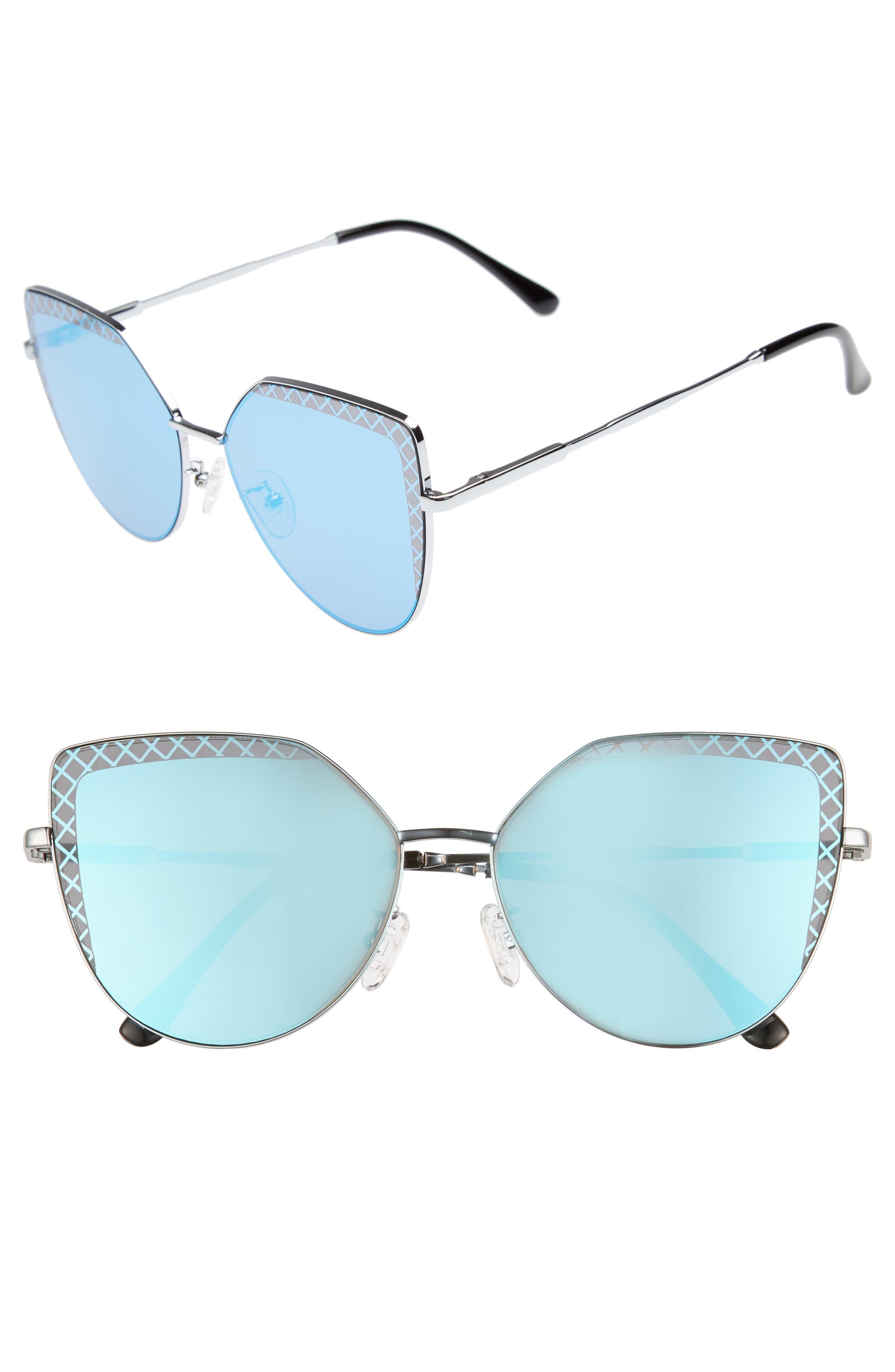 60mm Textured Lens Cat Eye Sunglasses,                             Main thumbnail 1, color,                             Silver/ Blue